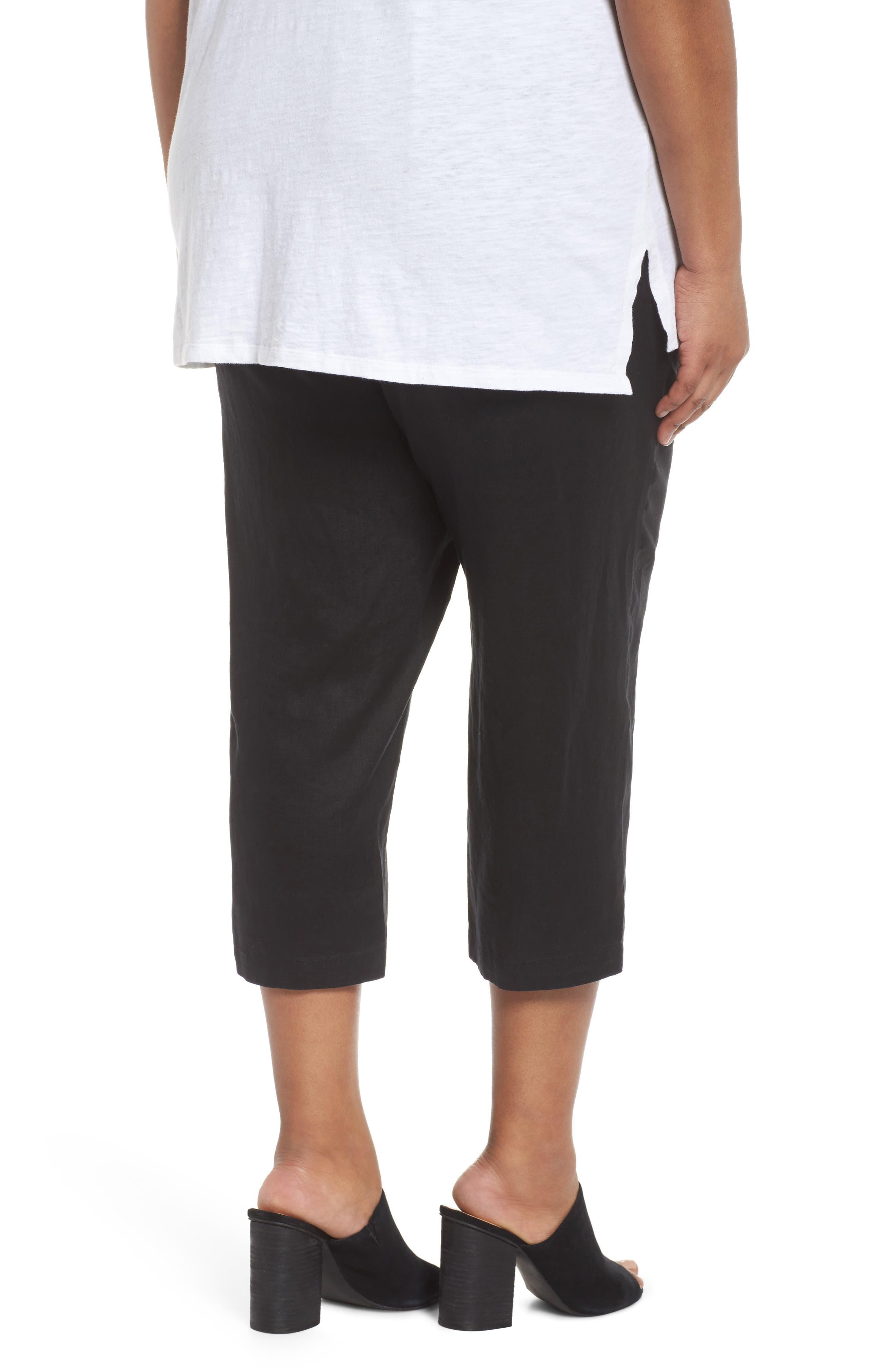 Linen Ankle Pants,                             Alternate thumbnail 2, color,                             BLACK