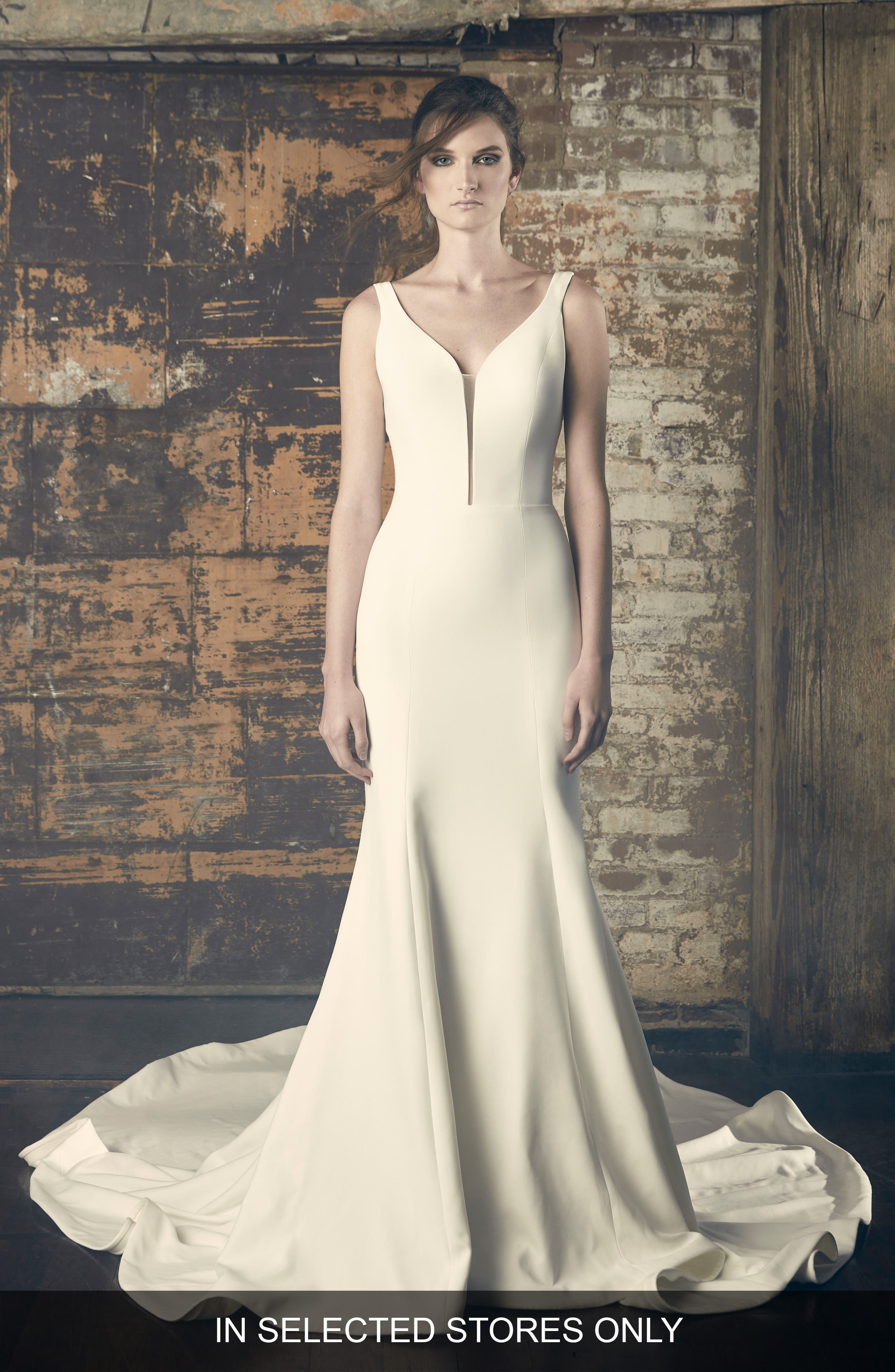 Eve Crepe Trumpet Gown,                         Main,                         color, IVORY
