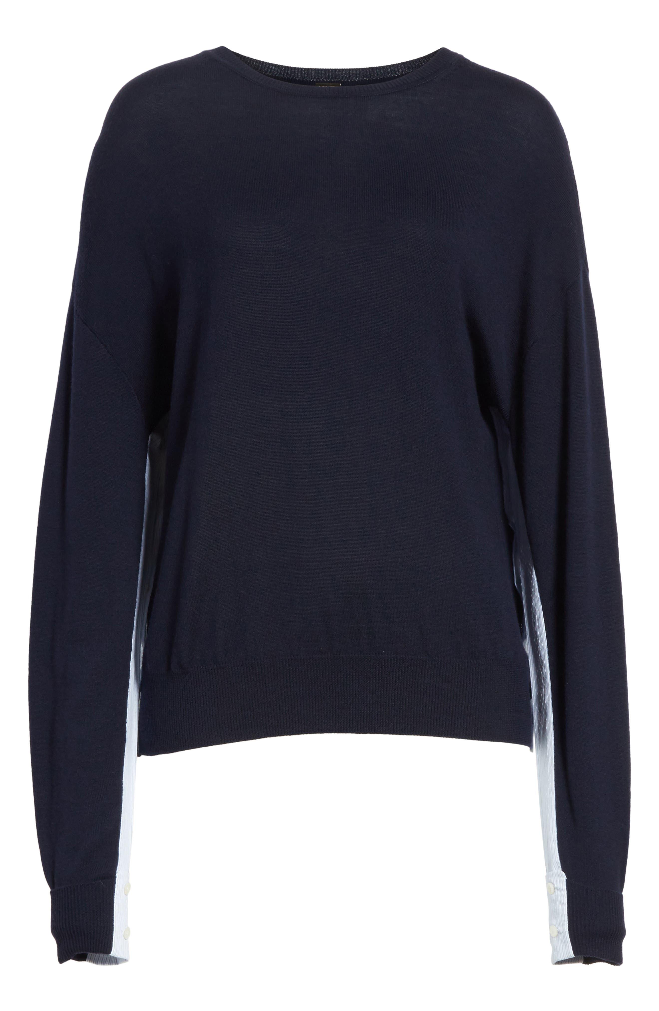 Cotton Gusset Merino Wool Sweater,                             Alternate thumbnail 6, color,