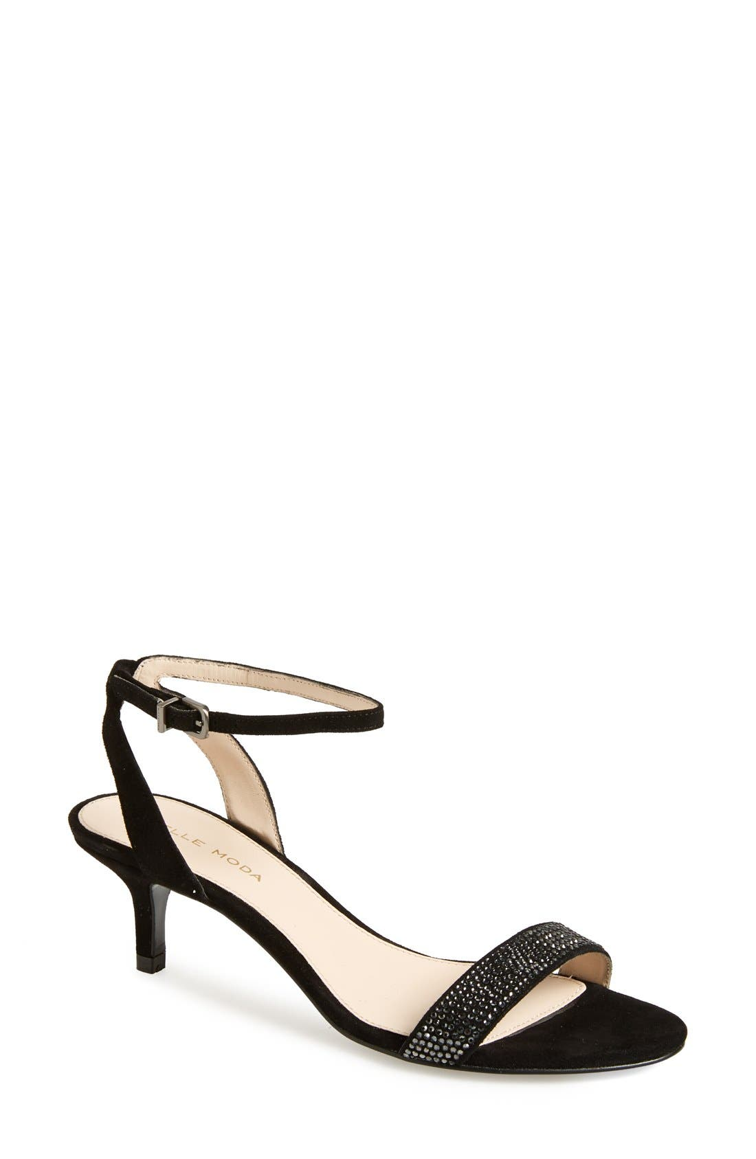 'Fabia' Sandal,                             Main thumbnail 1, color,                             BLACK SUEDE