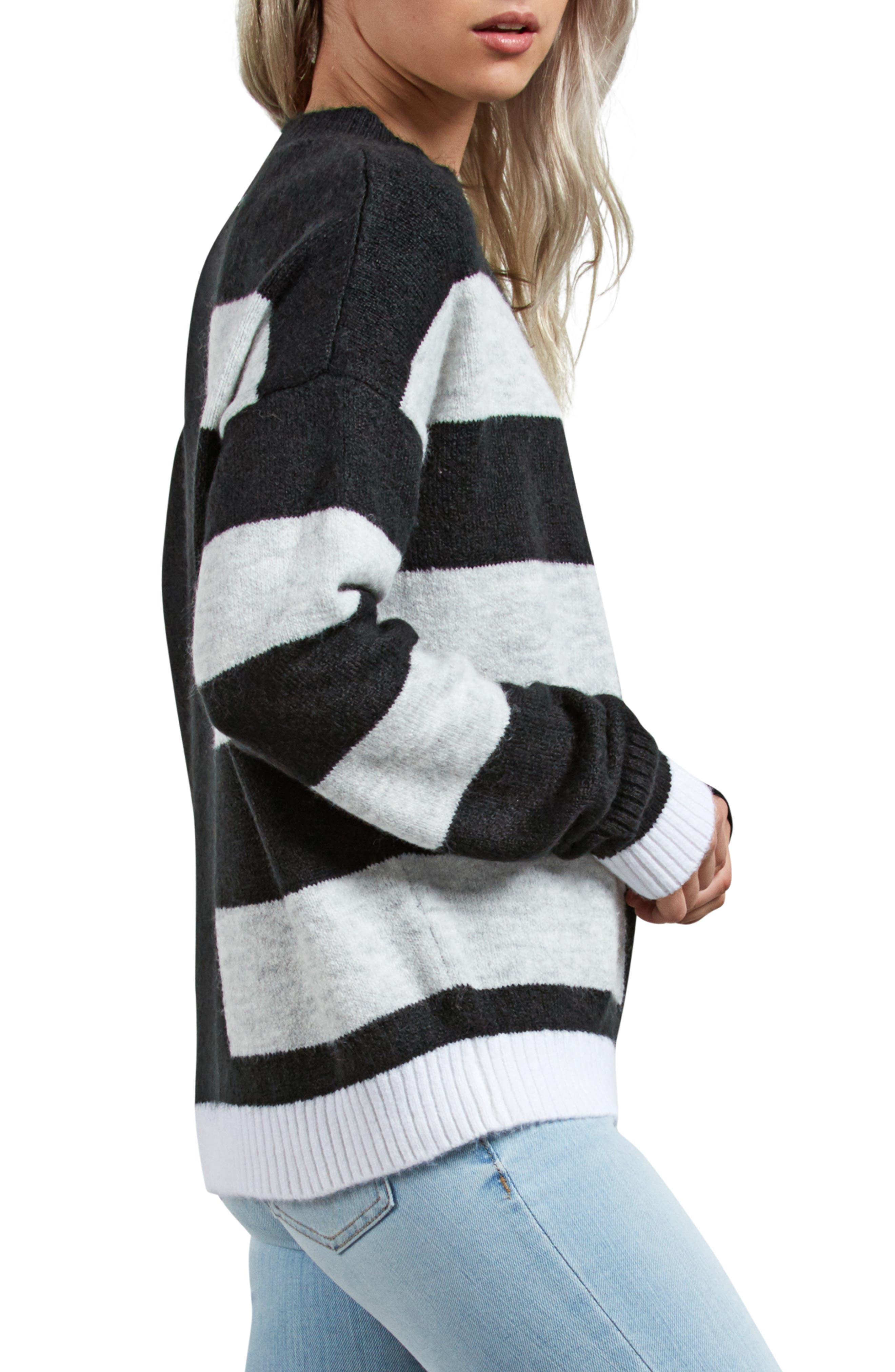 VOLCOM,                             Cold Stripe Sweater,                             Alternate thumbnail 3, color,                             001