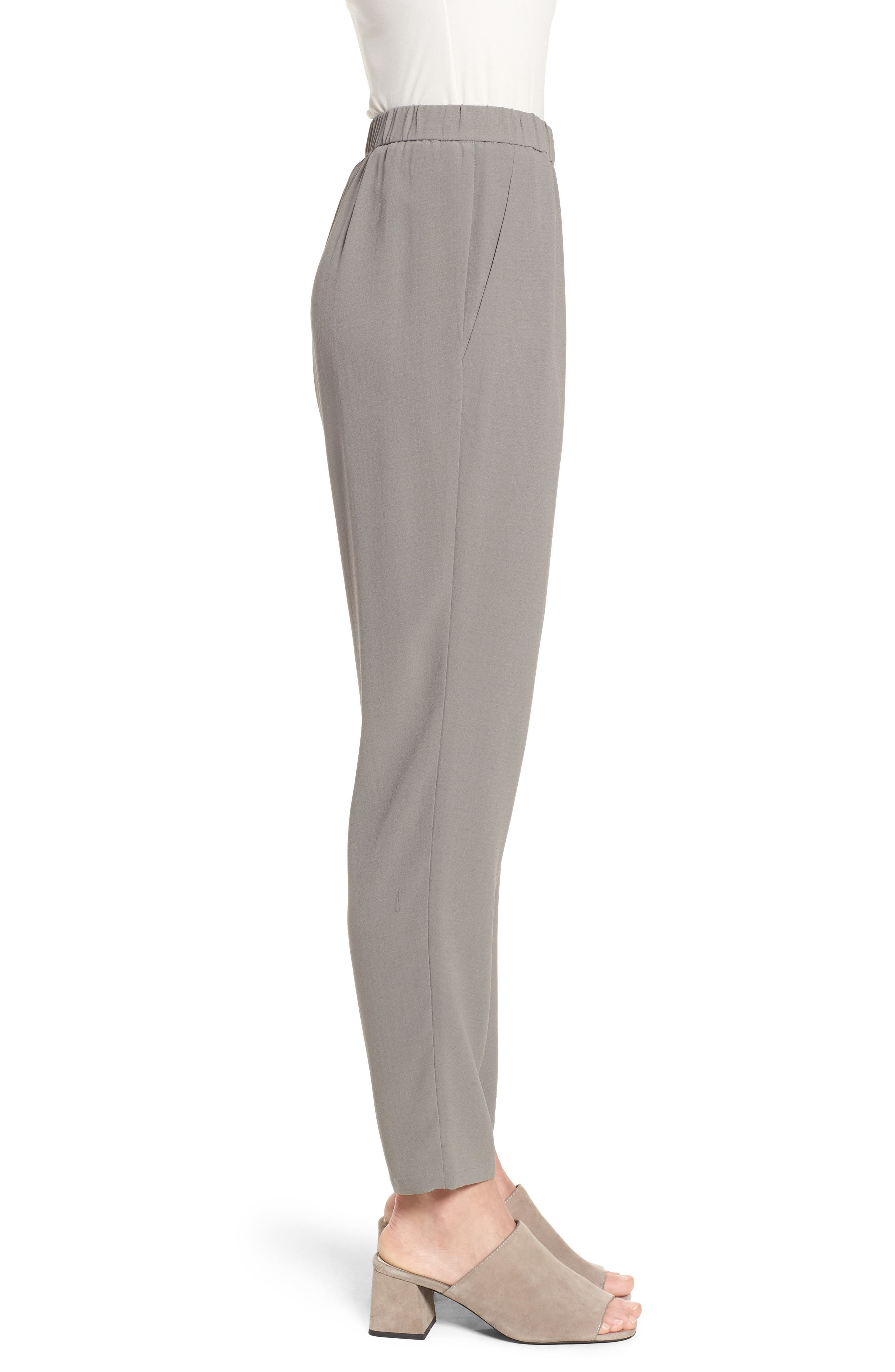 Slouchy Silk Crepe Ankle Pants,                             Alternate thumbnail 21, color,