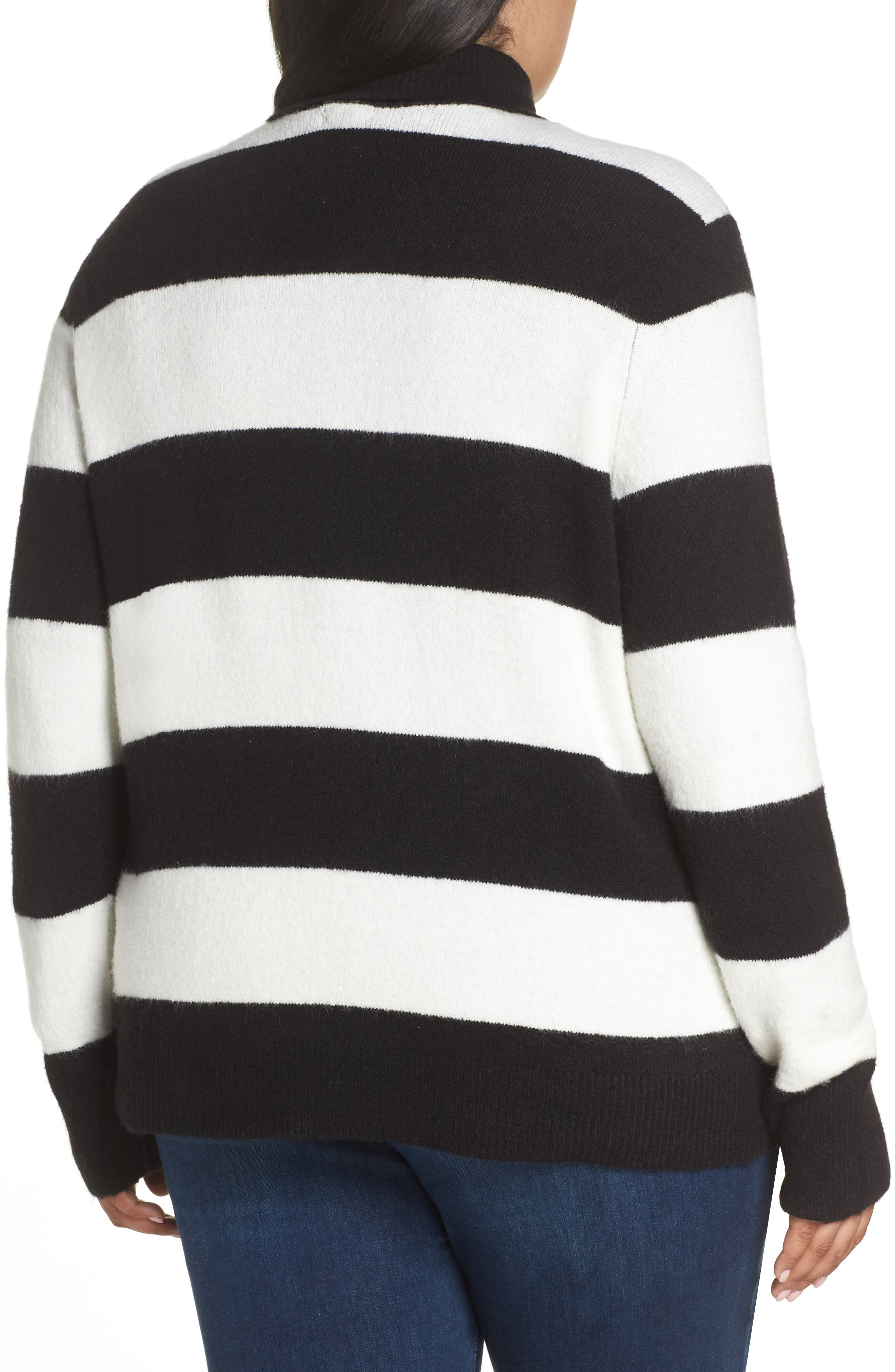 x Atlantic-Pacific Stripe Turtleneck Sweater,                             Alternate thumbnail 2, color,                             BLACK- IVORY STRIPE