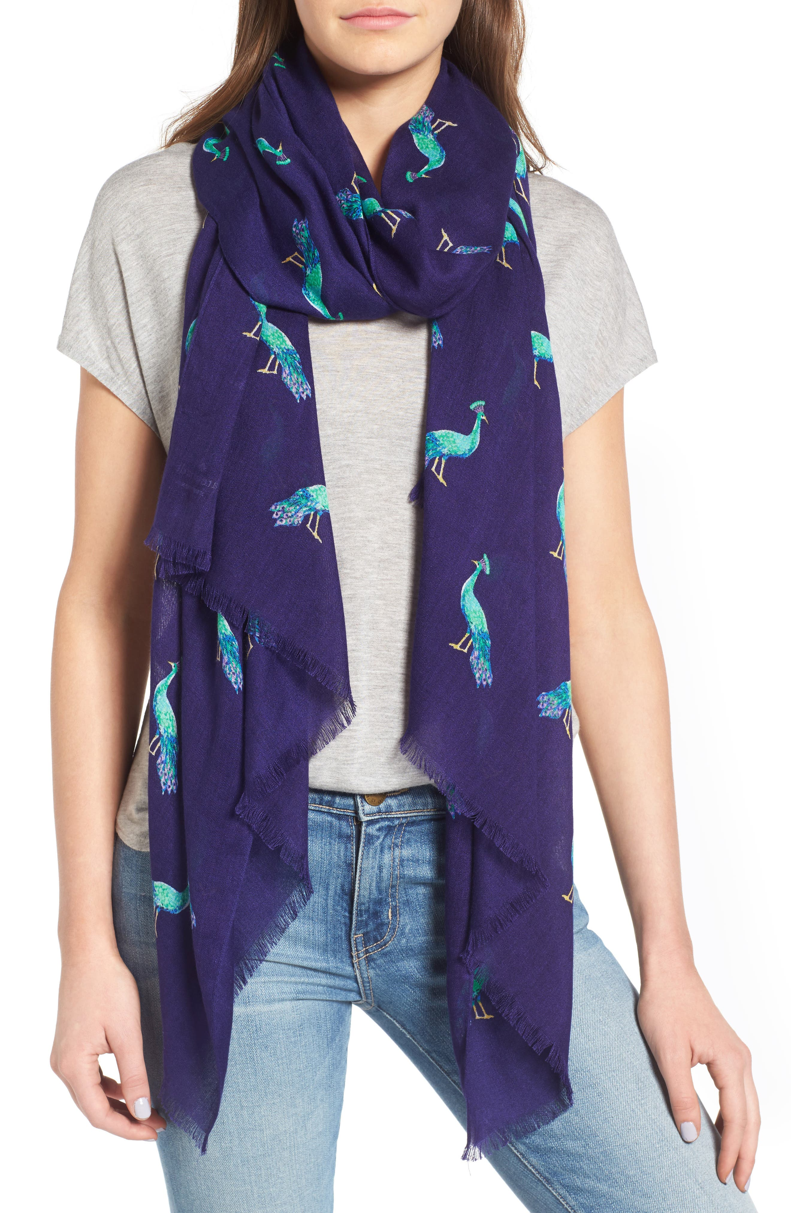 peacock oblong scarf, Main, color, 405