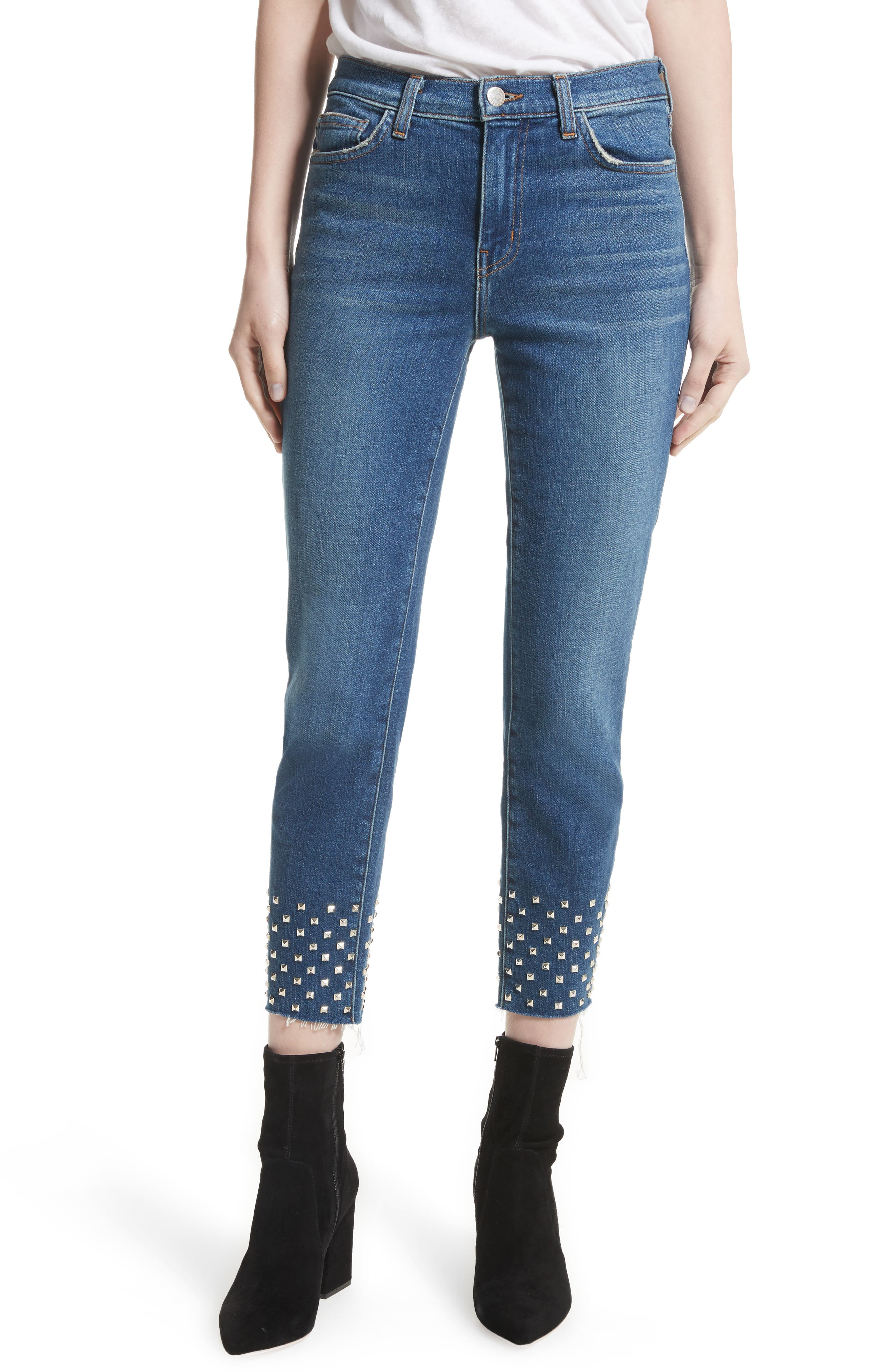 Anjelique Studded Ankle Skinny Jeans,                             Main thumbnail 1, color,                             400