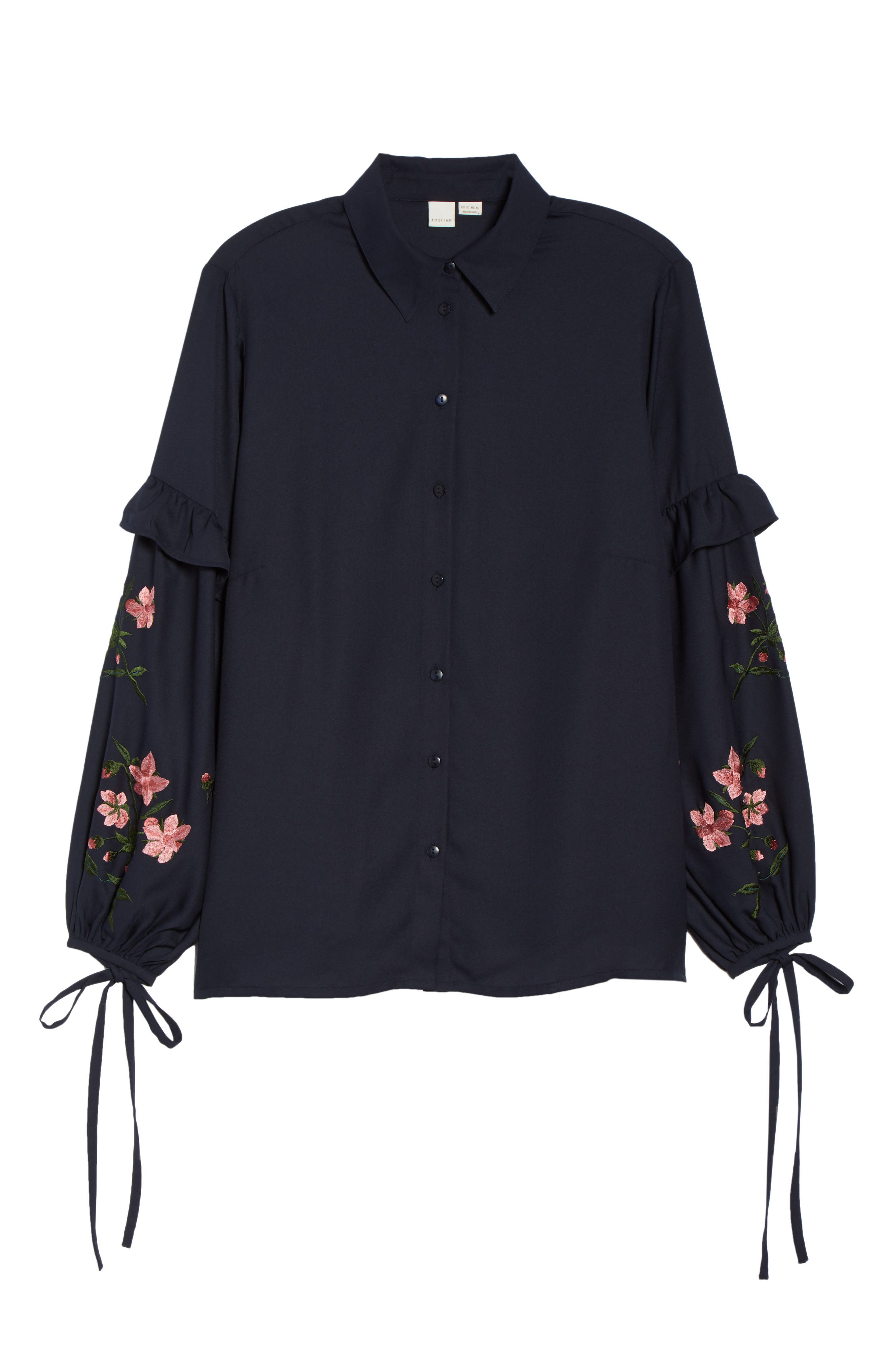 Embroidered Sleeve Button Down Shirt,                             Alternate thumbnail 6, color,                             410