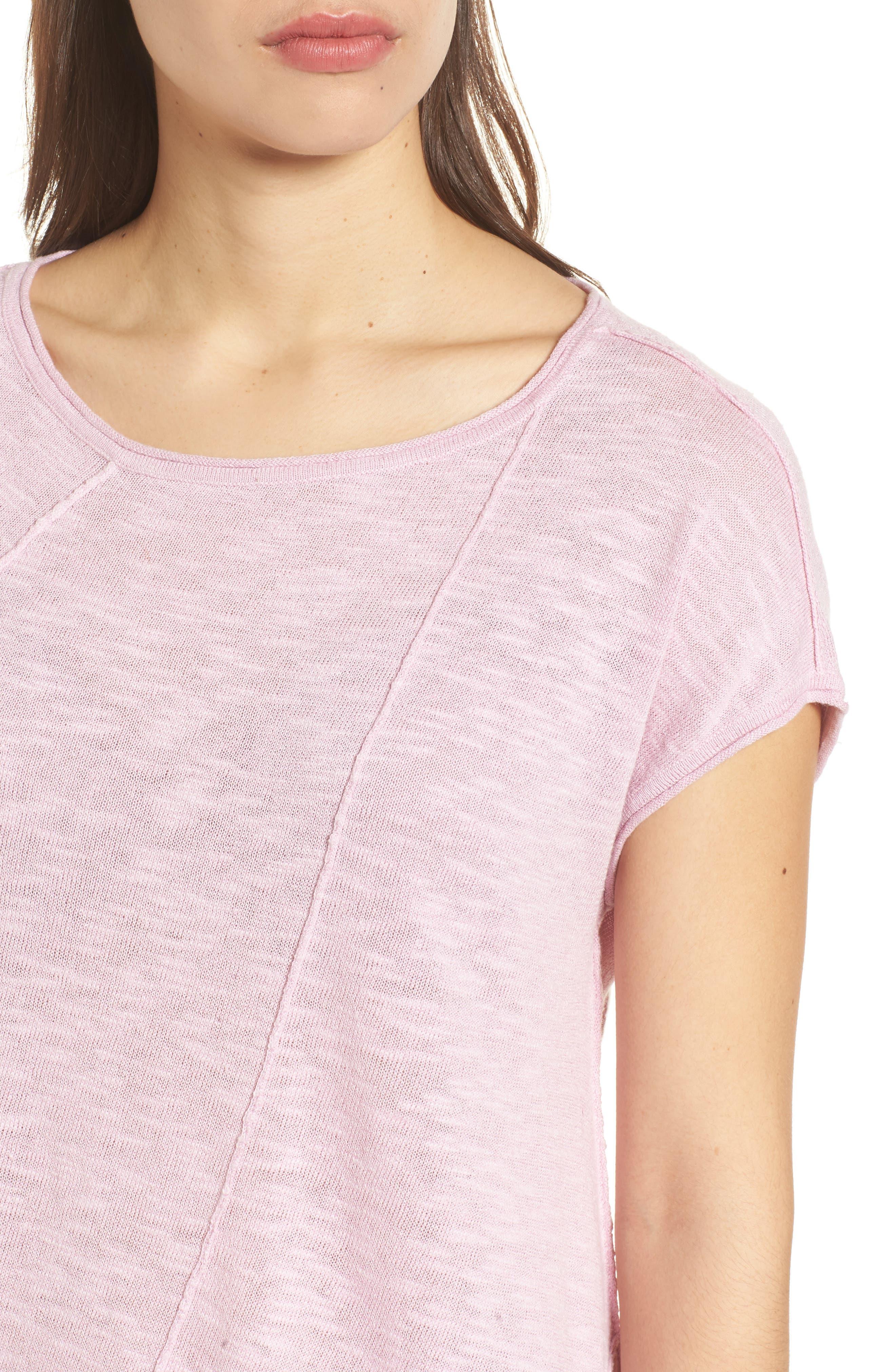 Cap Sleeve Organic Linen & Cotton Scoop Neck Top,                             Alternate thumbnail 62, color,
