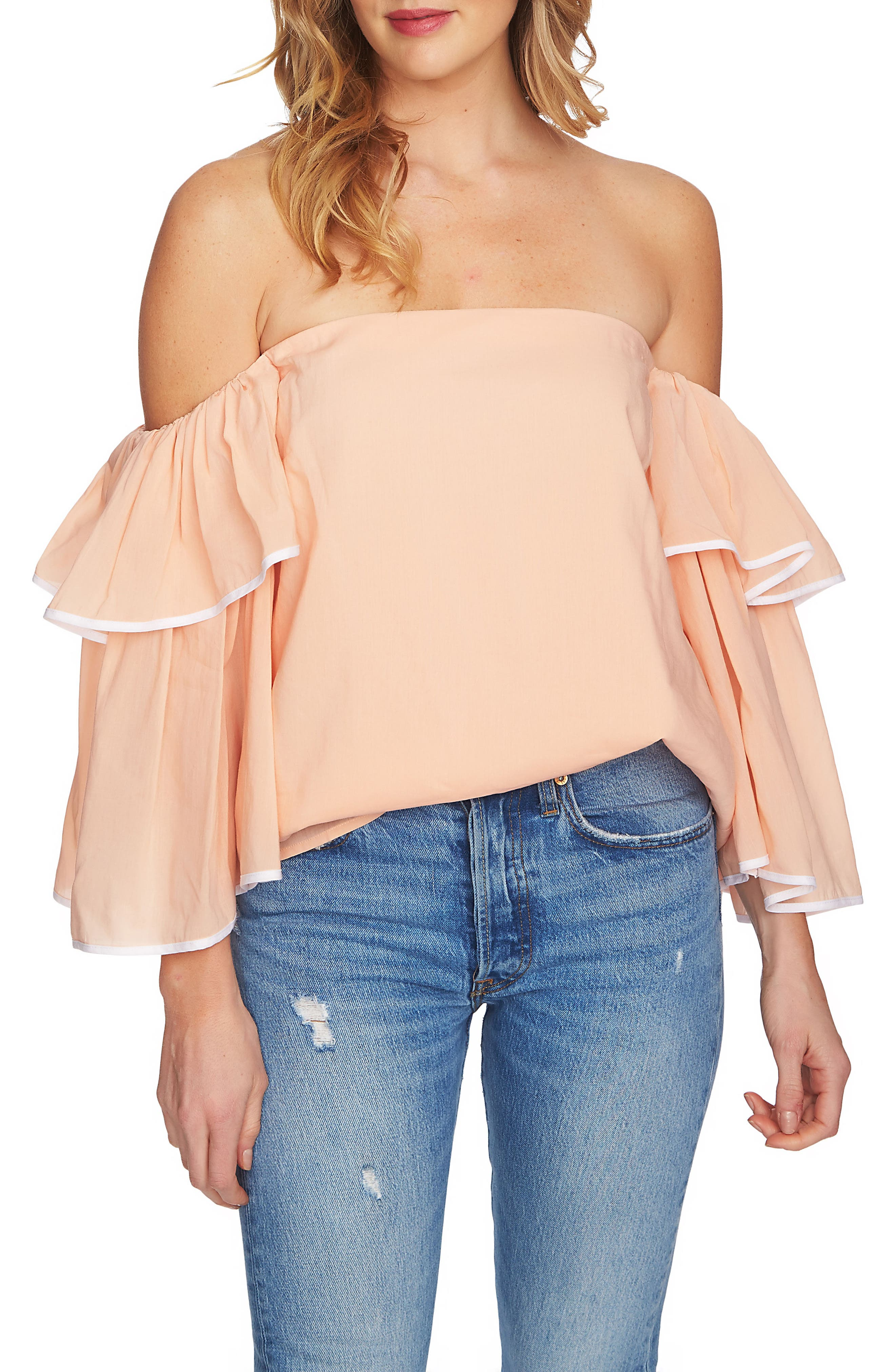 Tiered Sleeve Off the Shoulder Top,                             Main thumbnail 4, color,