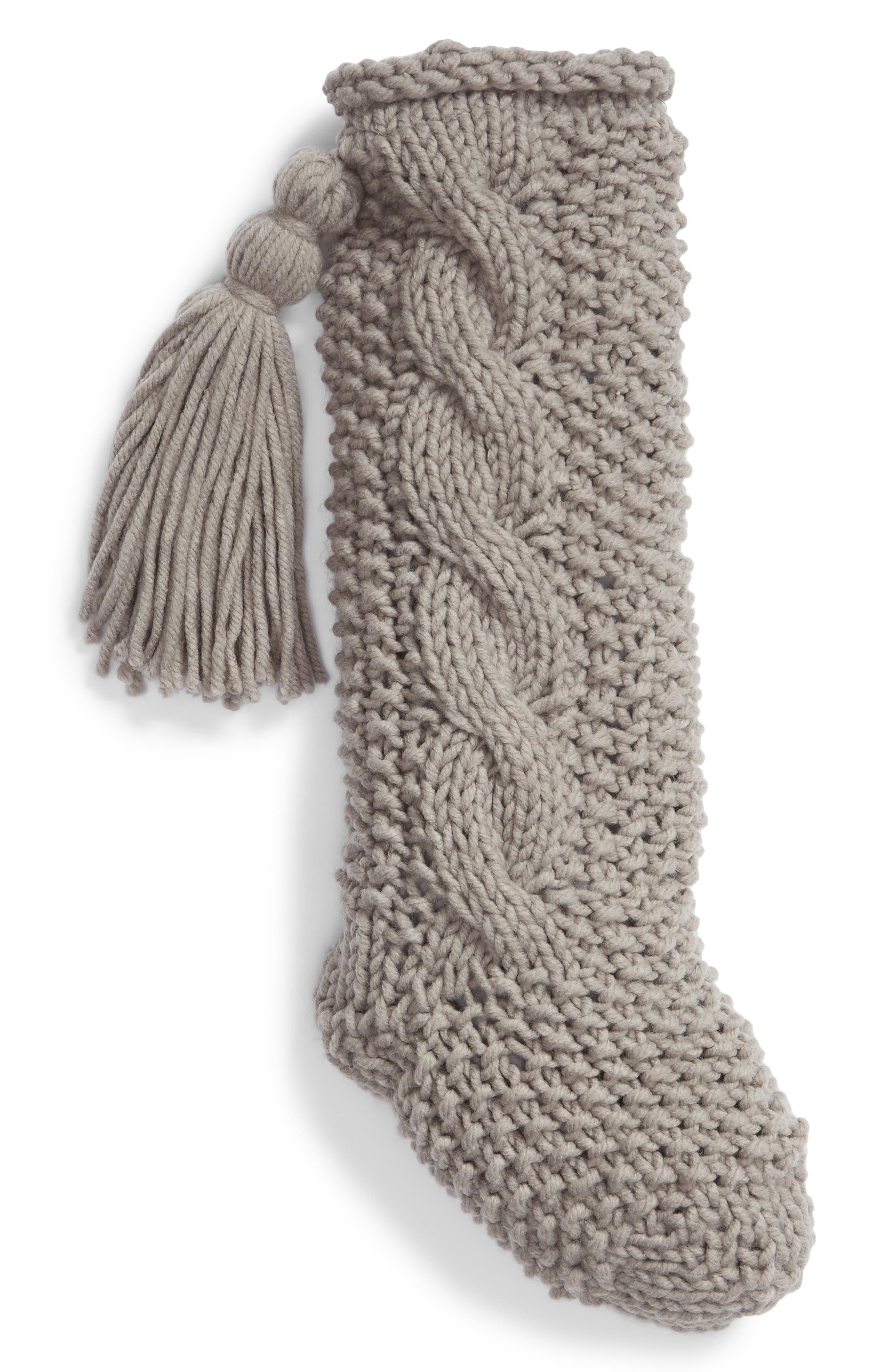 Cable Knit Stocking,                         Main,                         color, GREY FROST