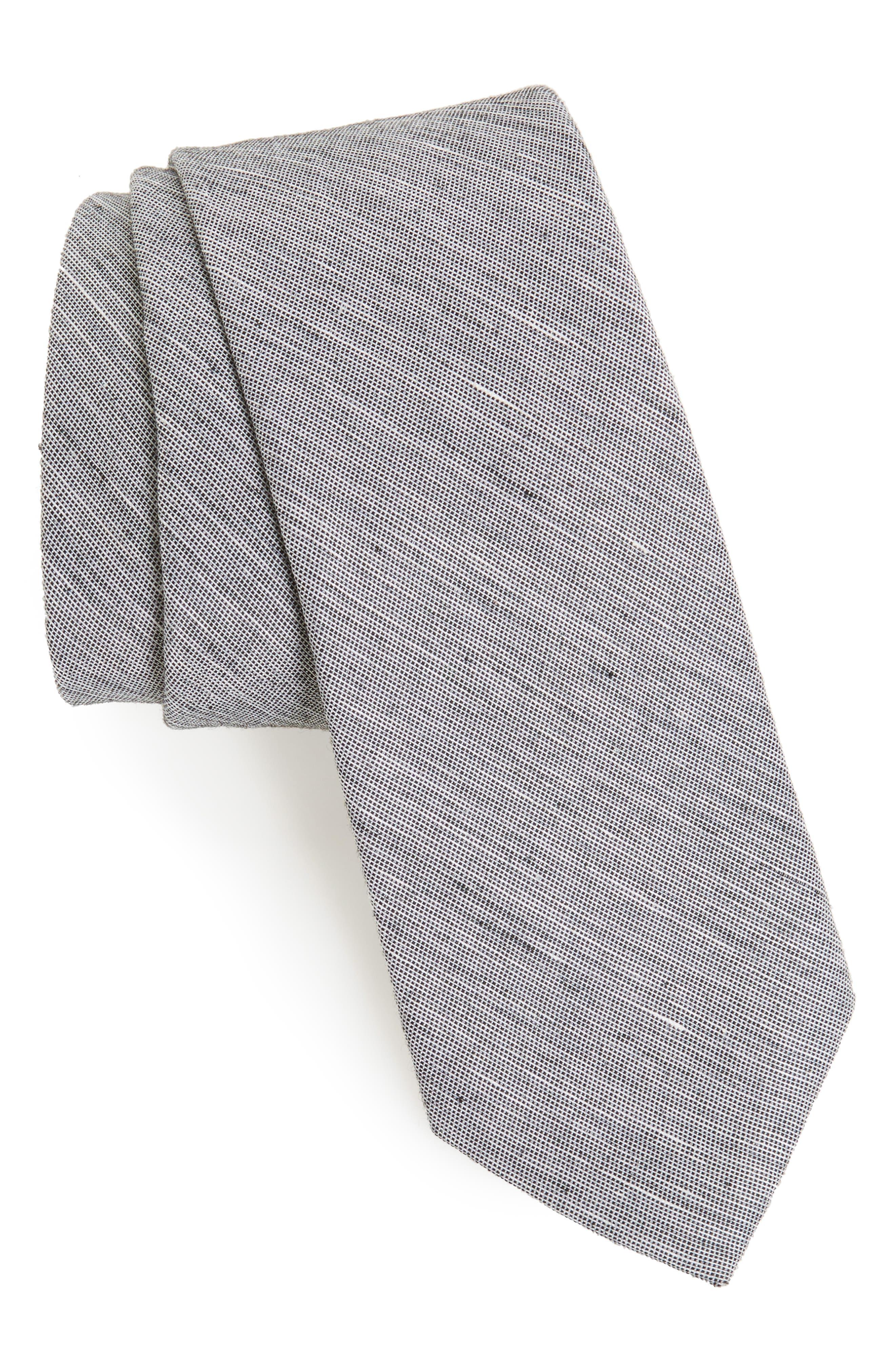 Adena Solid Silk Blend Skinny Tie,                         Main,                         color, 001