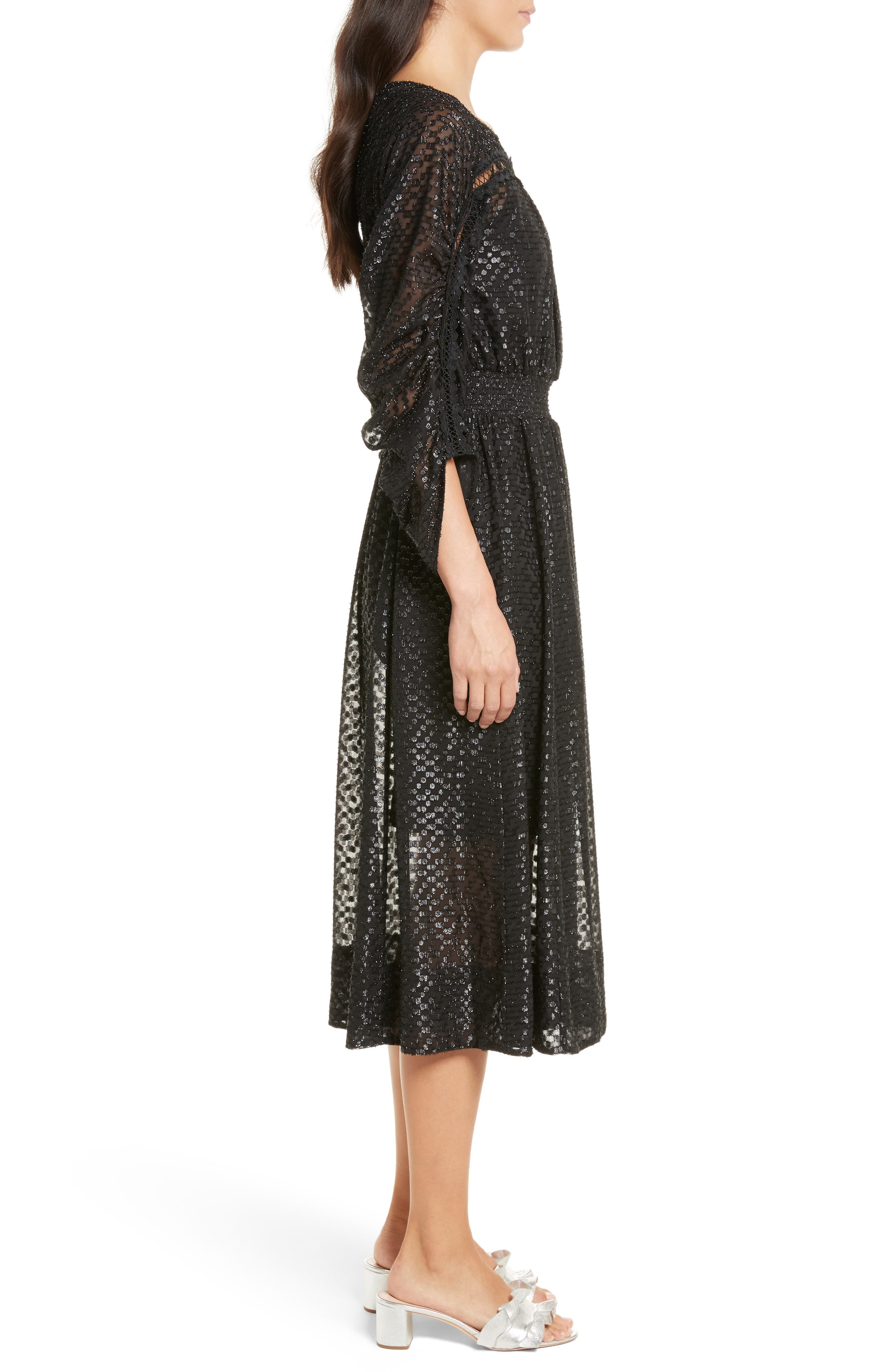 Long Sleeve Metallic Dot Midi Dress,                             Alternate thumbnail 3, color,                             001