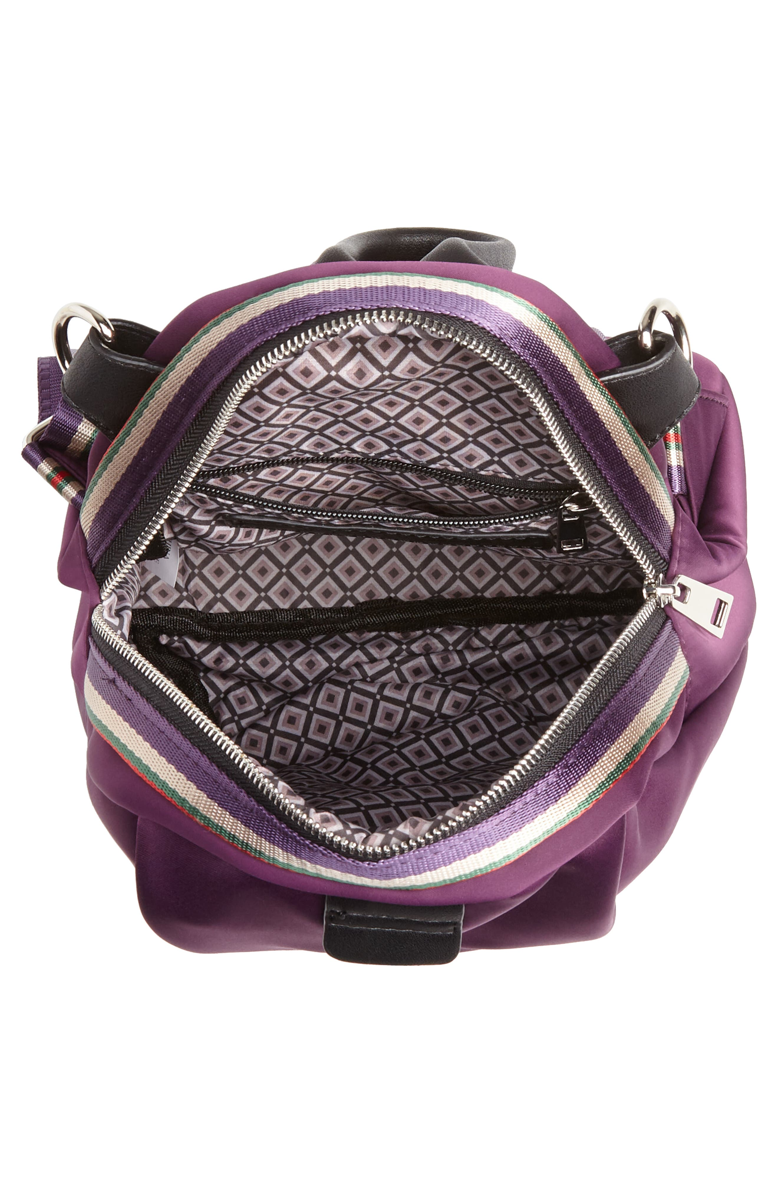 Satin Nylon & Webbing Convertible Backpack,                             Alternate thumbnail 7, color,                             PURPLE
