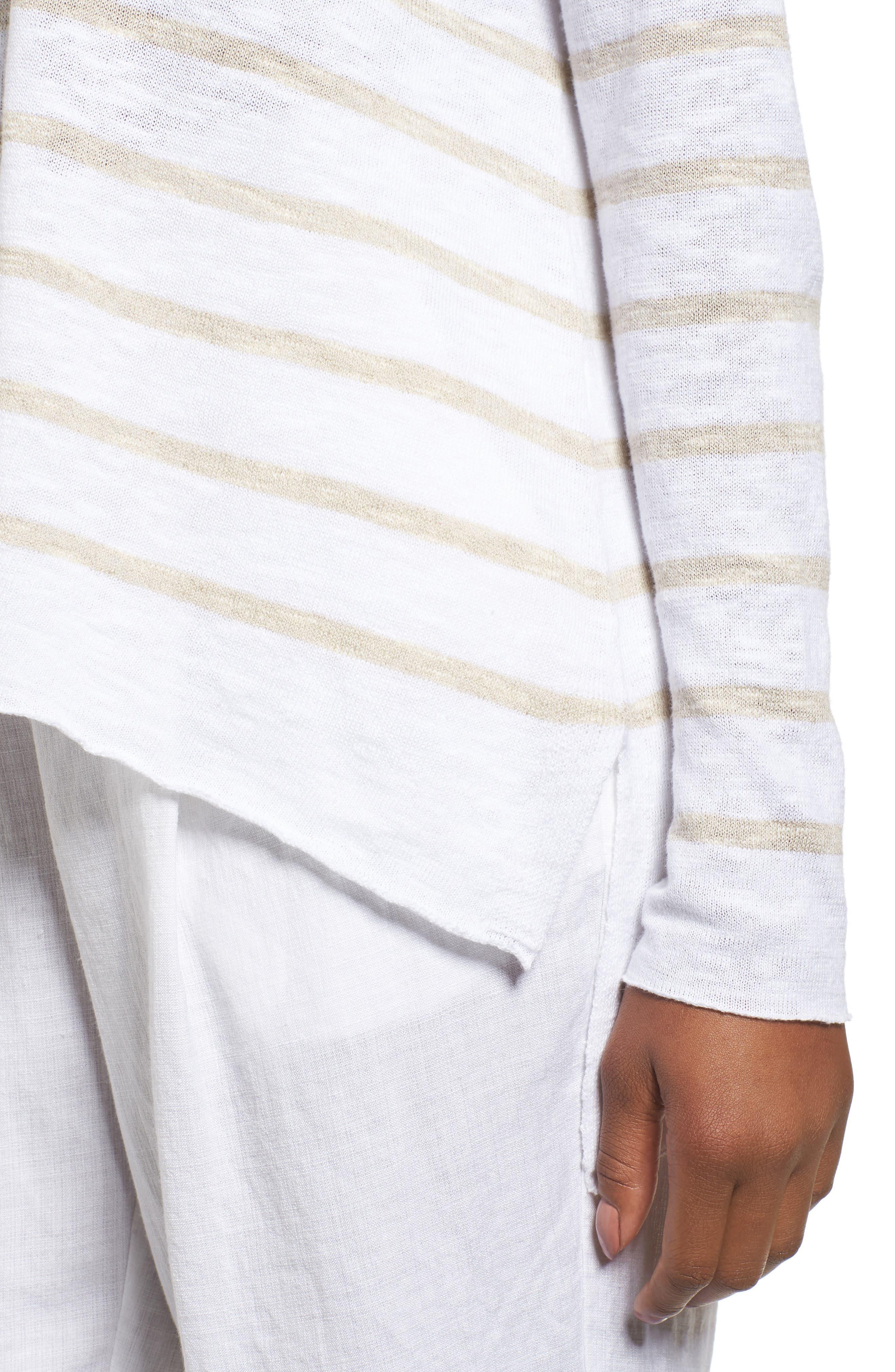 Stripe Organic Linen & Cotton Sweater,                             Alternate thumbnail 4, color,                             138