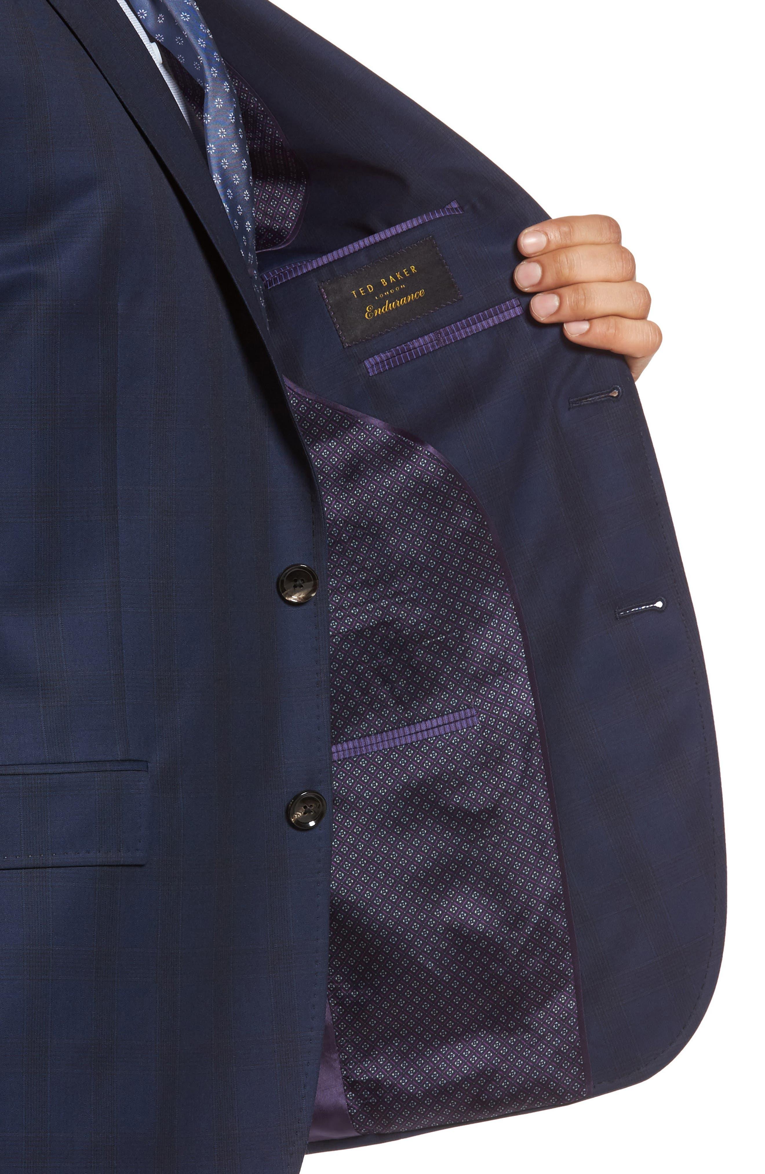 Jay Trim Fit Plaid Wool Suit,                             Alternate thumbnail 4, color,