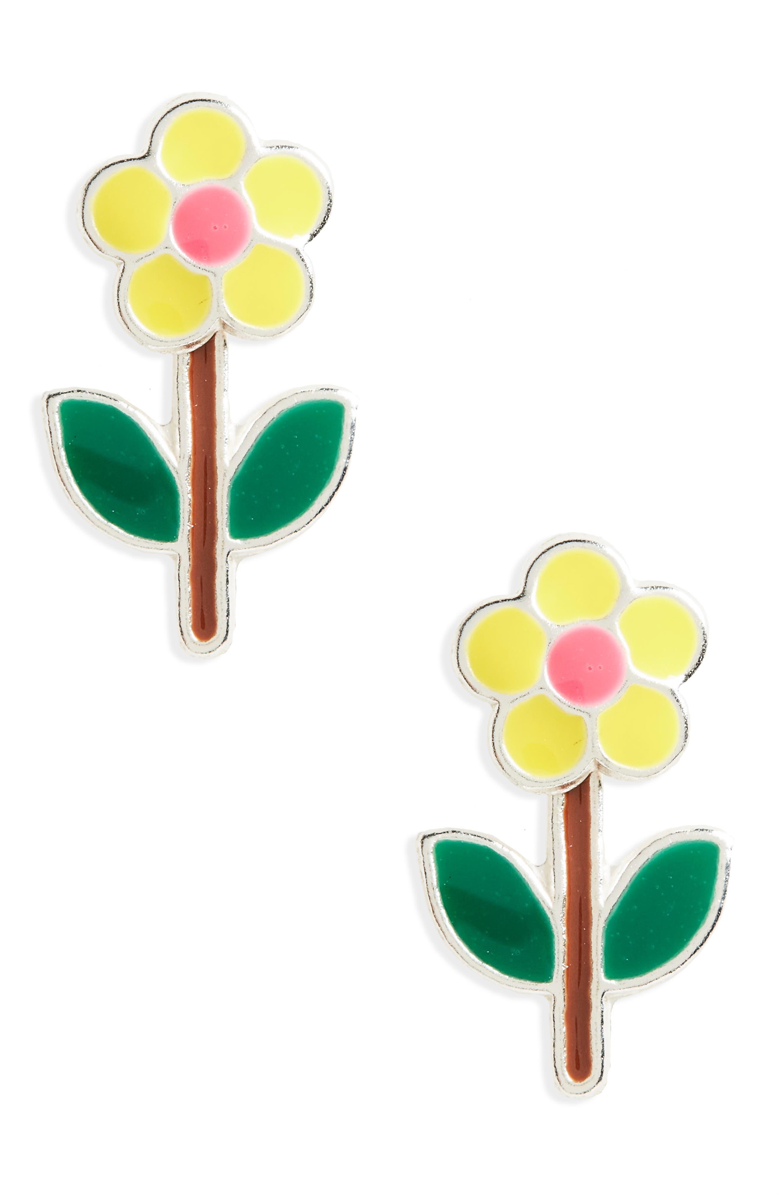 Flower Sterling Silver Stud Earrings,                             Main thumbnail 1, color,