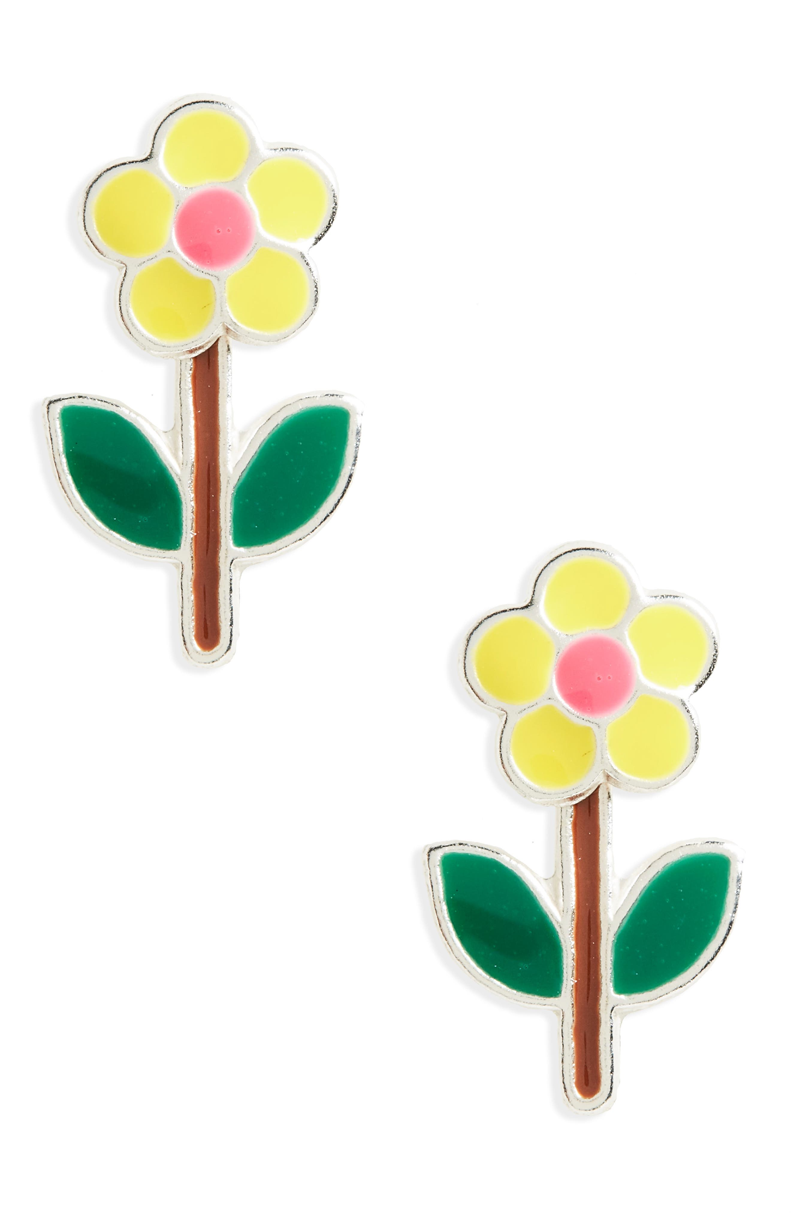 Flower Sterling Silver Stud Earrings,                         Main,                         color,
