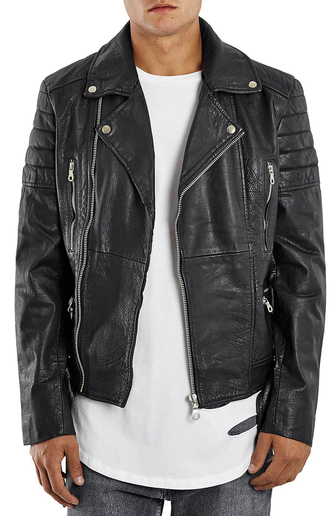 Washed Leather Moto Jacket with Waist Belt, Main, color, 001