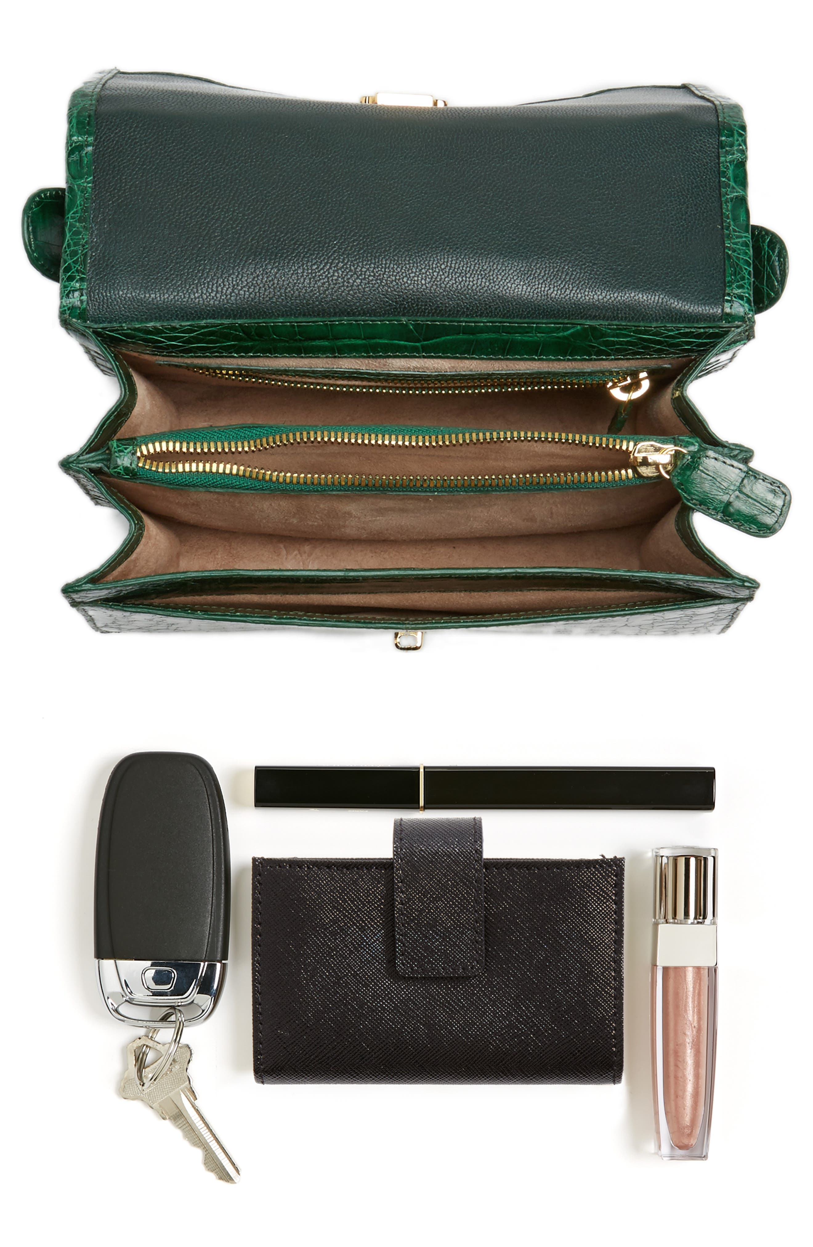 Divino Genuine Crocodile Top Handle Bag,                             Alternate thumbnail 7, color,                             KELLY GREEN SHINY