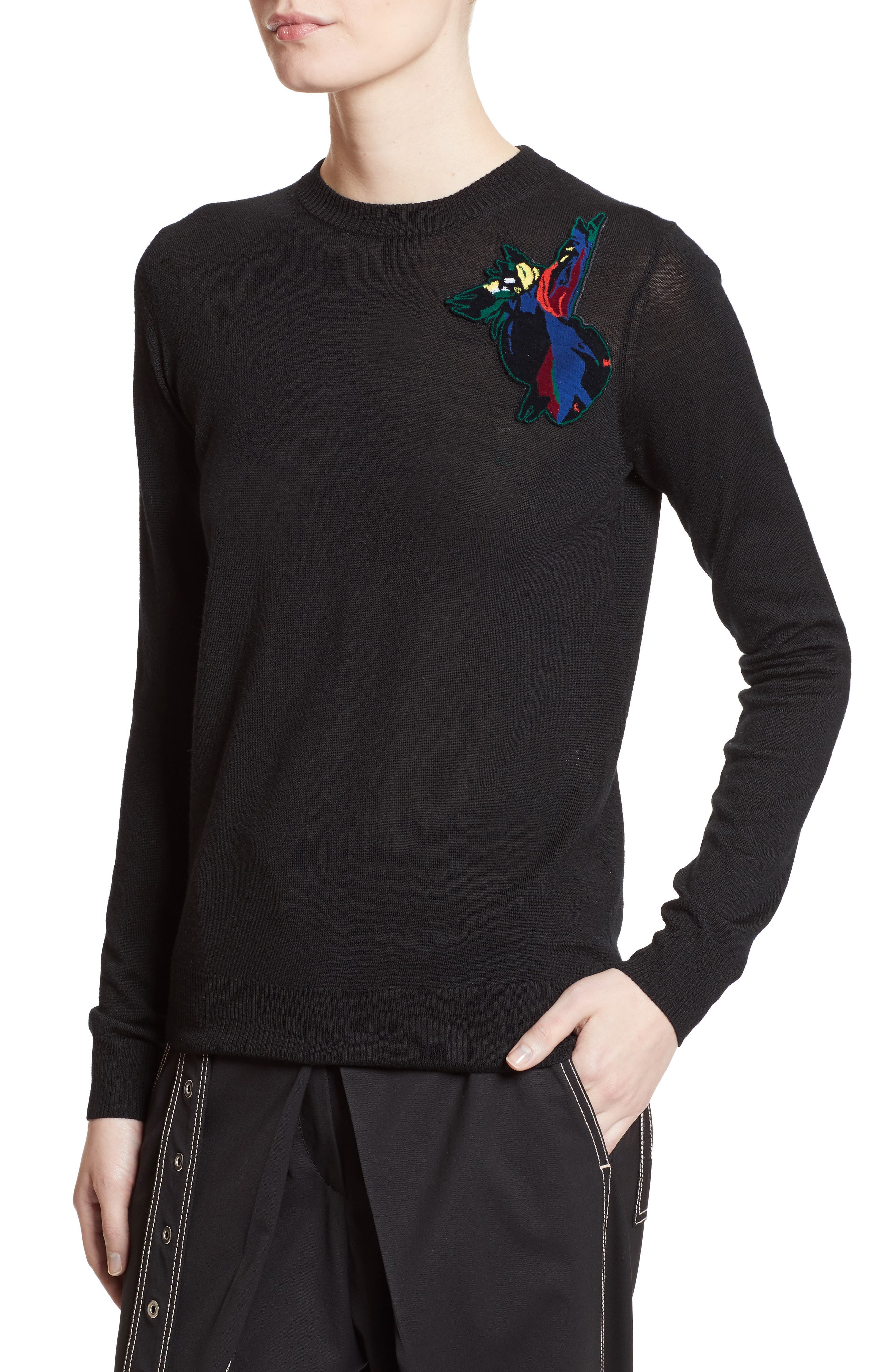Patch Embellished Wool Sweater,                             Alternate thumbnail 4, color,                             001