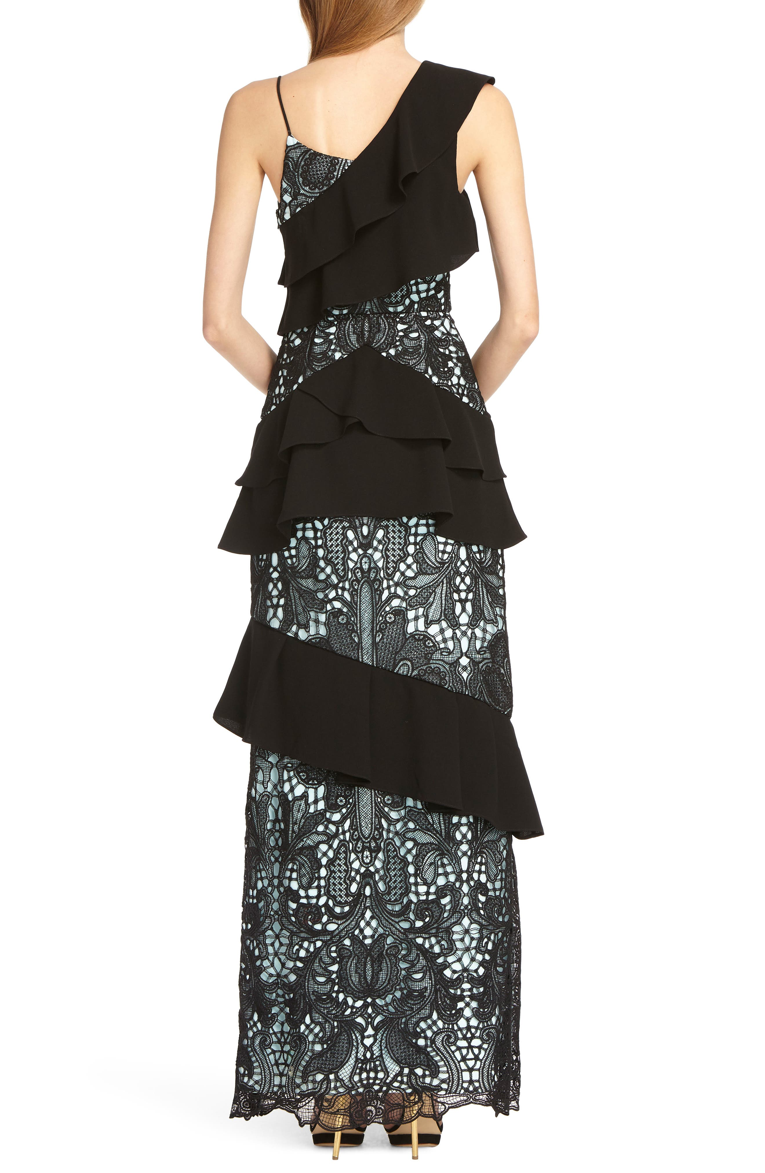 Crepe & Lace Mixed Gown,                             Alternate thumbnail 2, color,                             SKY BLACK