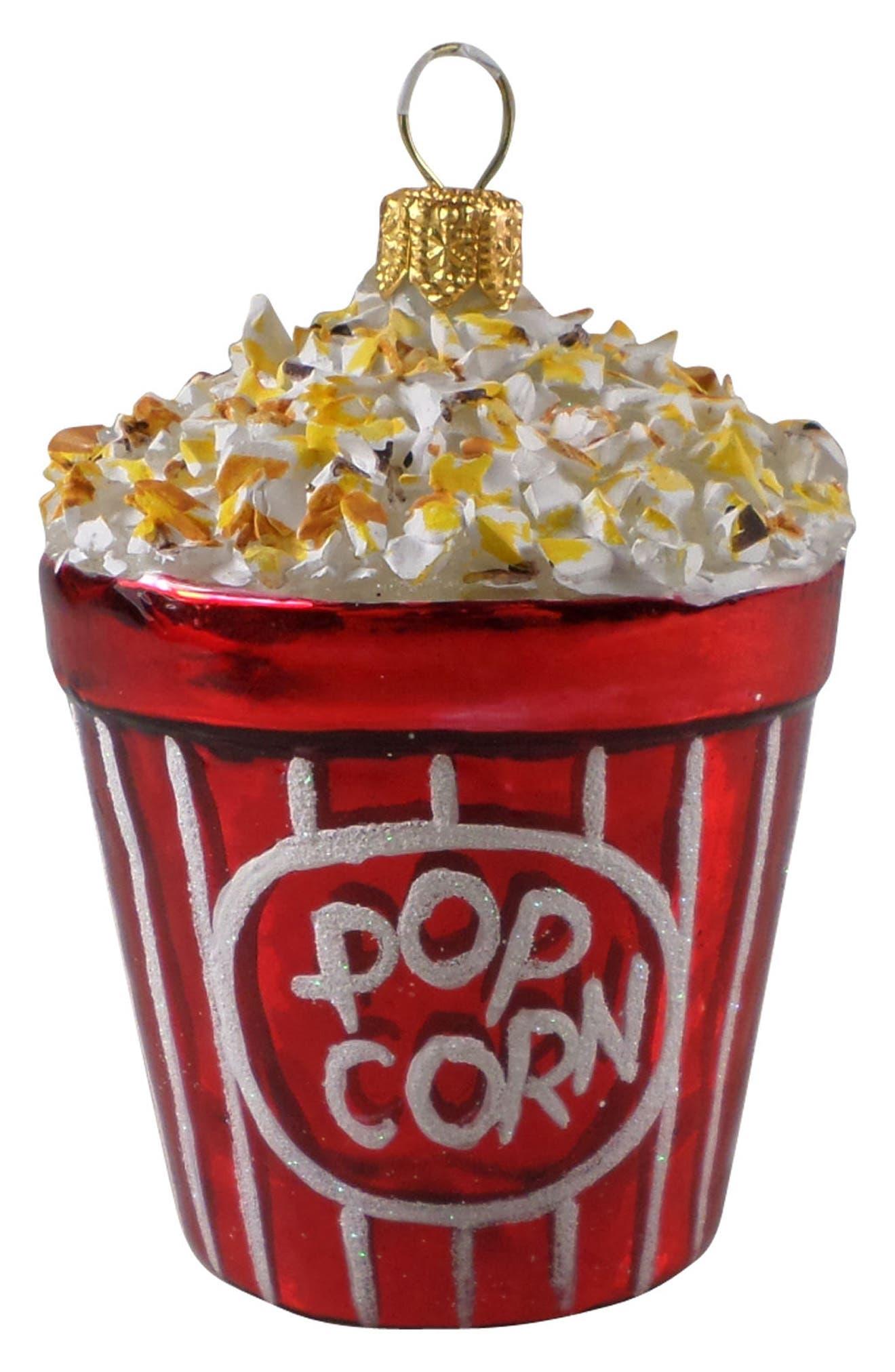 Handblown Glass Popcorn Ornament,                         Main,                         color, RED MULTI
