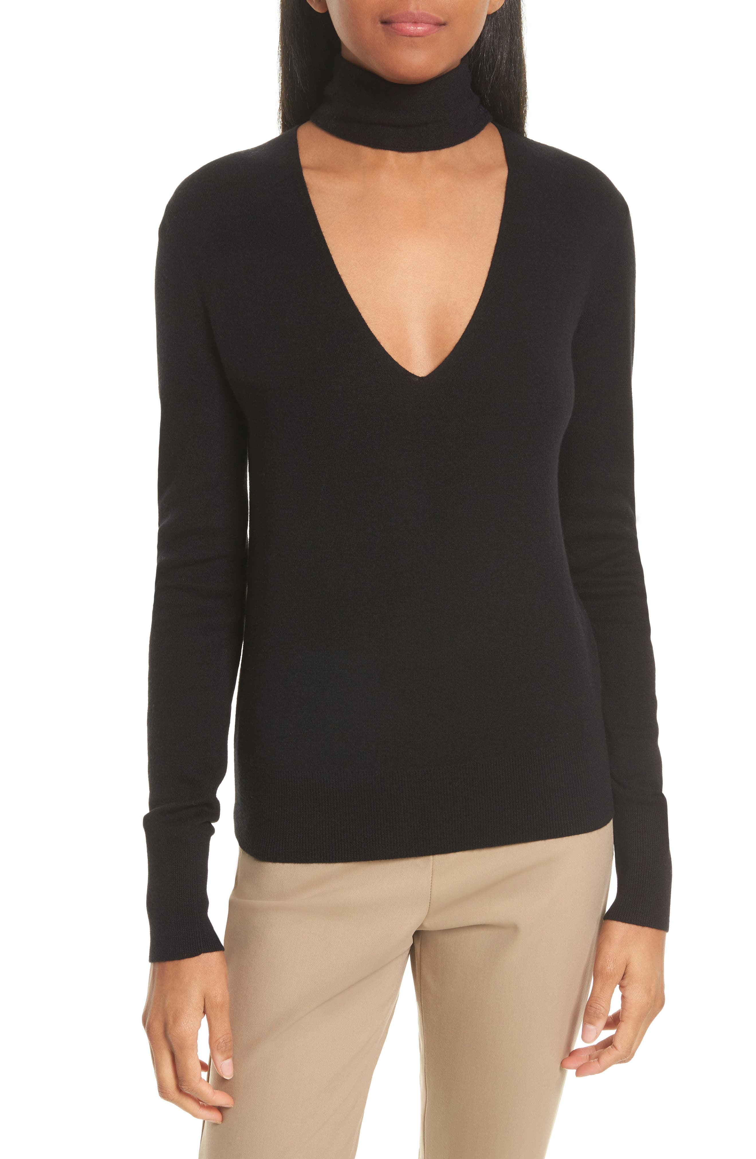 Choker Collar Silk Blend Sweater,                             Main thumbnail 1, color,                             001