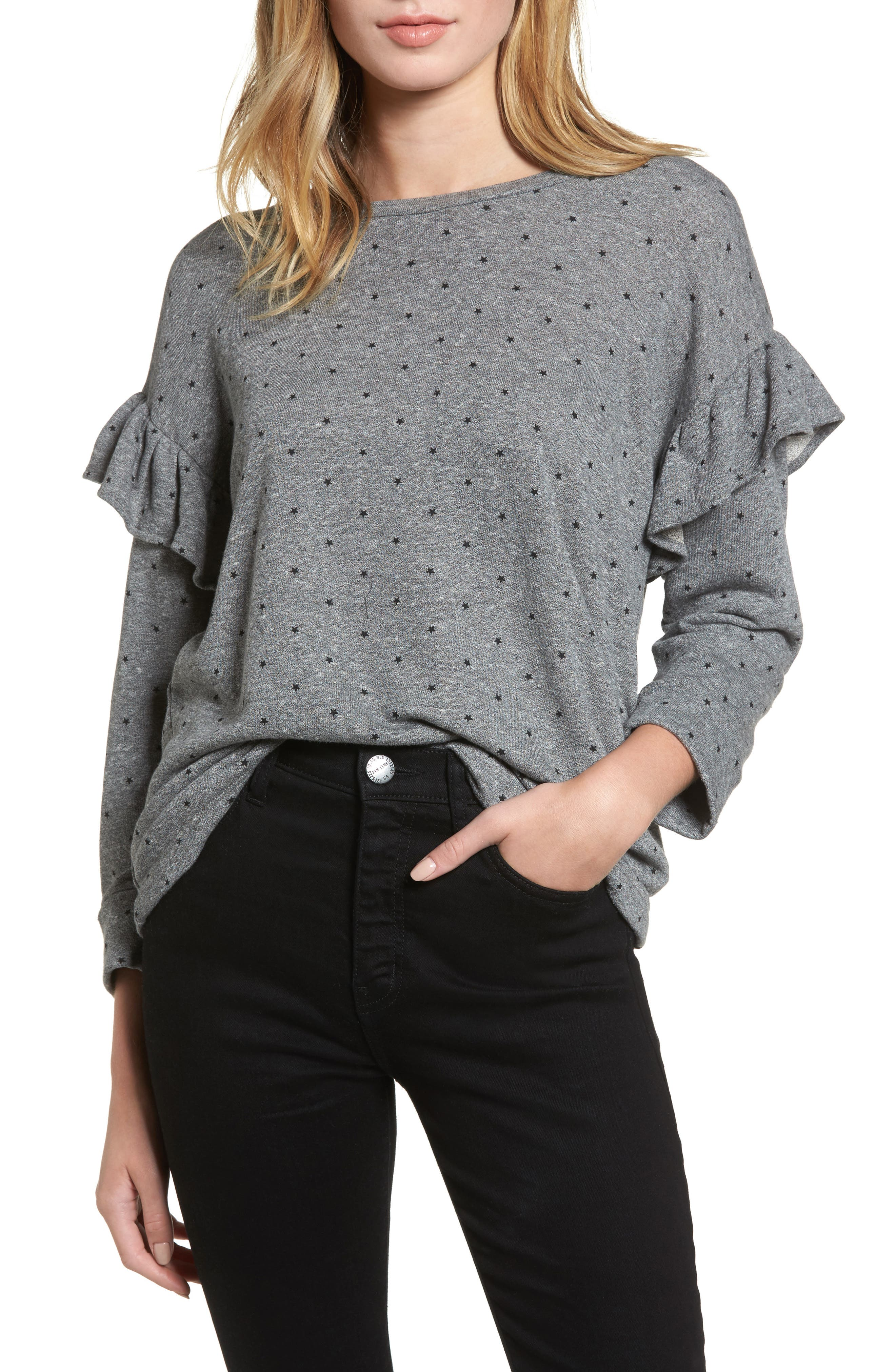 The Ruffle Sweatshirt,                             Main thumbnail 1, color,                             096