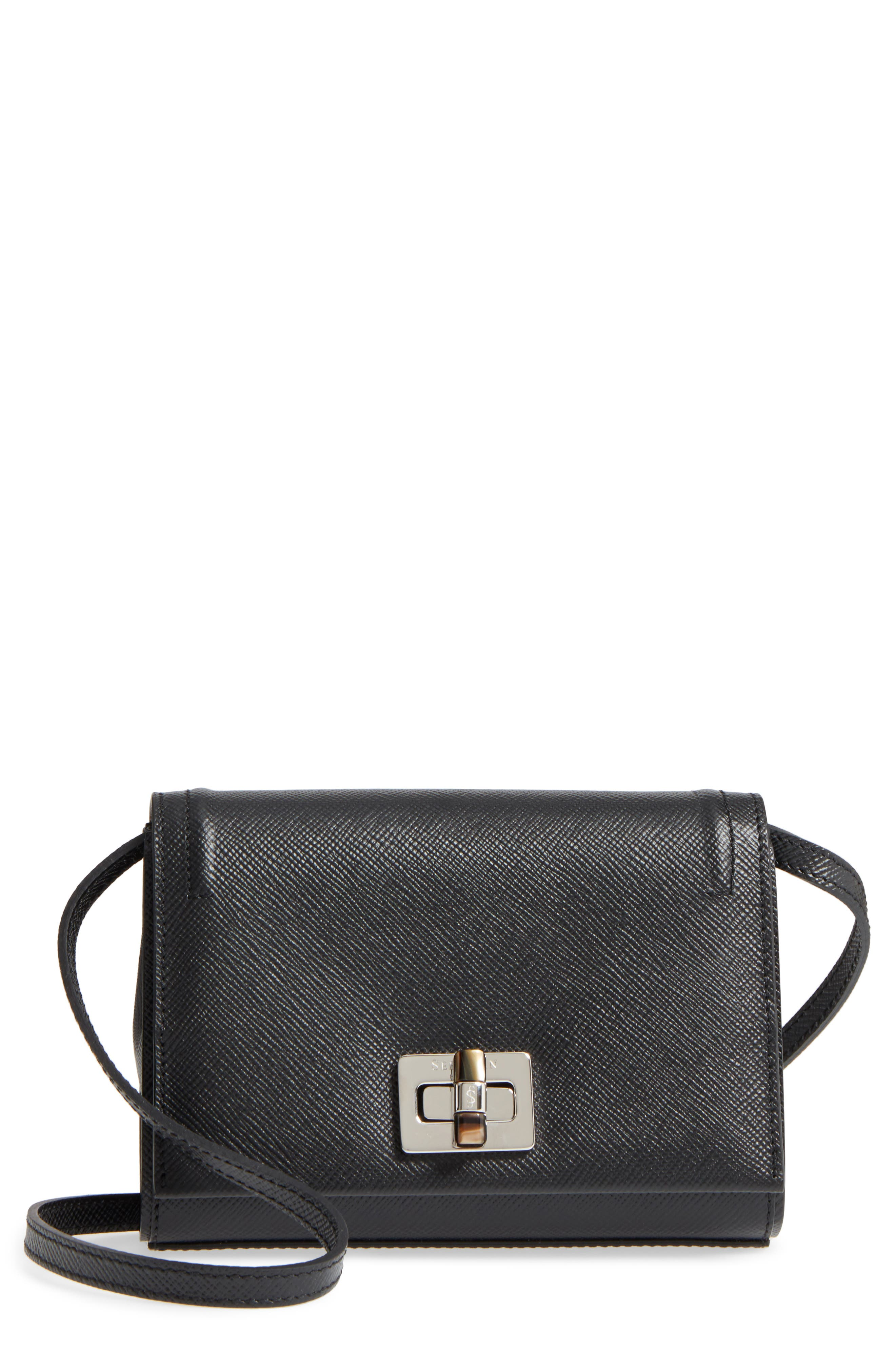 Mini Ilenea Leather Crossbody Bag,                             Main thumbnail 1, color,                             001
