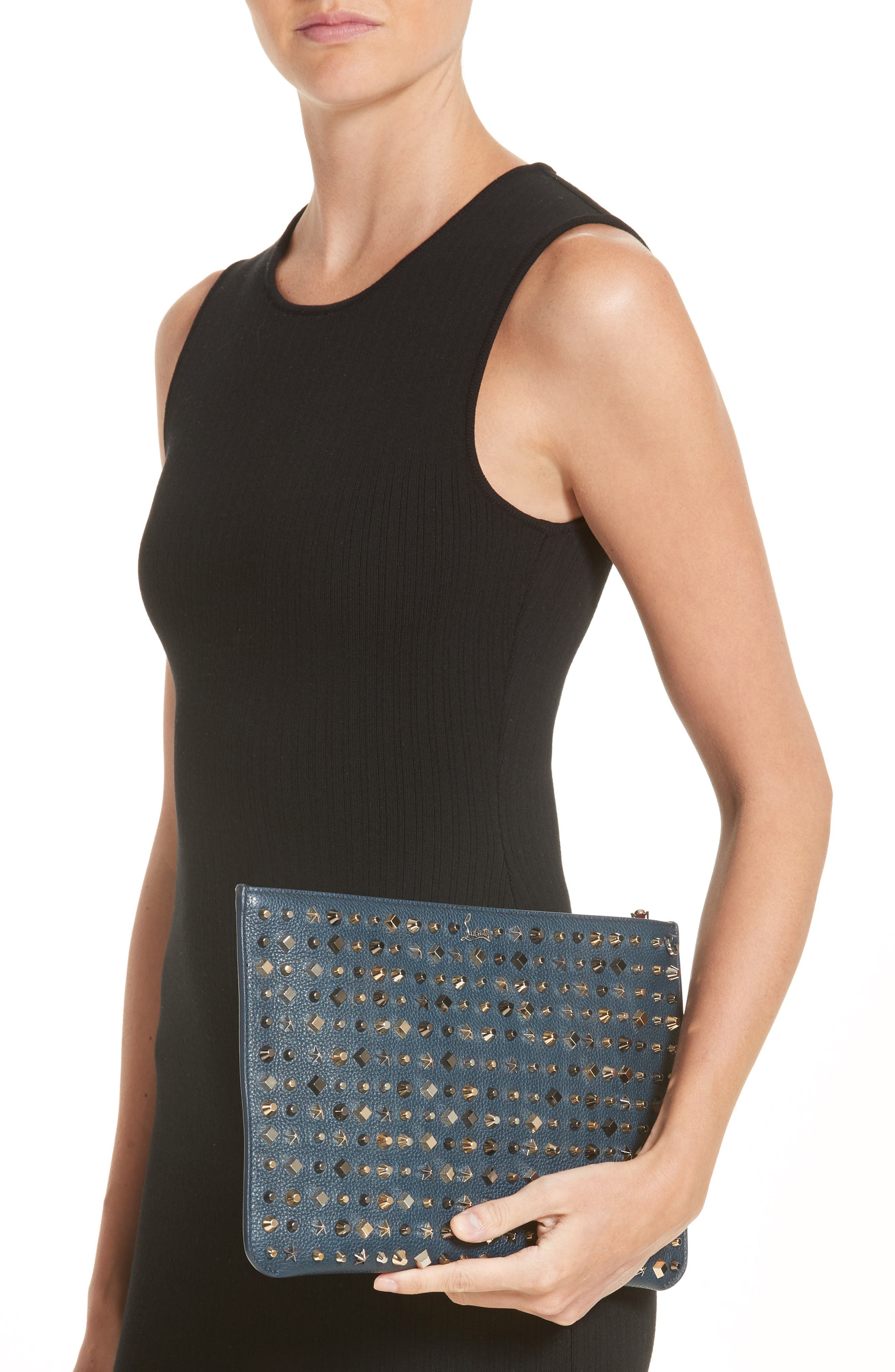 Loubiclutch Spiked Leather Clutch,                             Alternate thumbnail 2, color,                             419