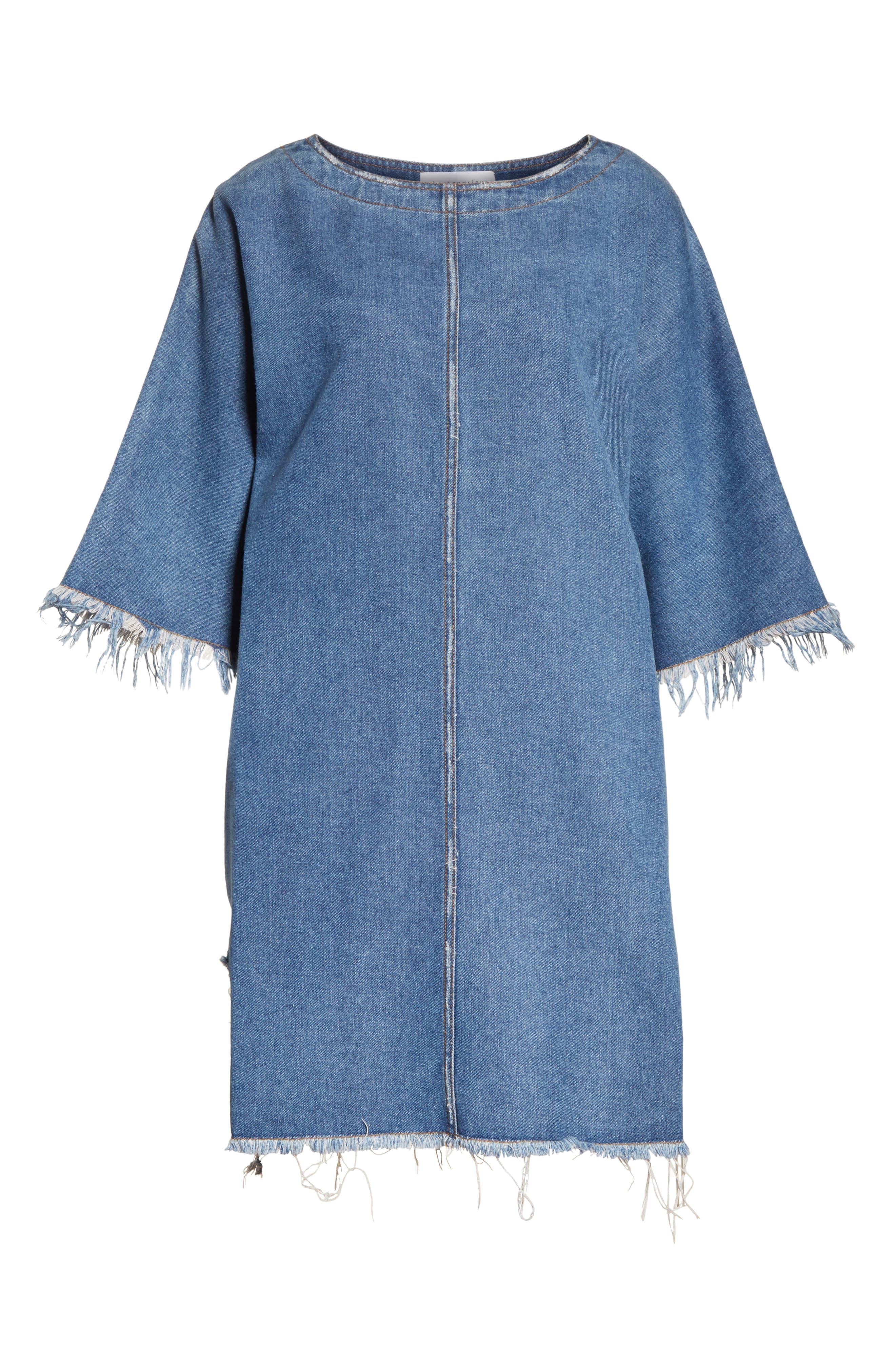 Distressed Denim Dress,                             Alternate thumbnail 6, color,                             400