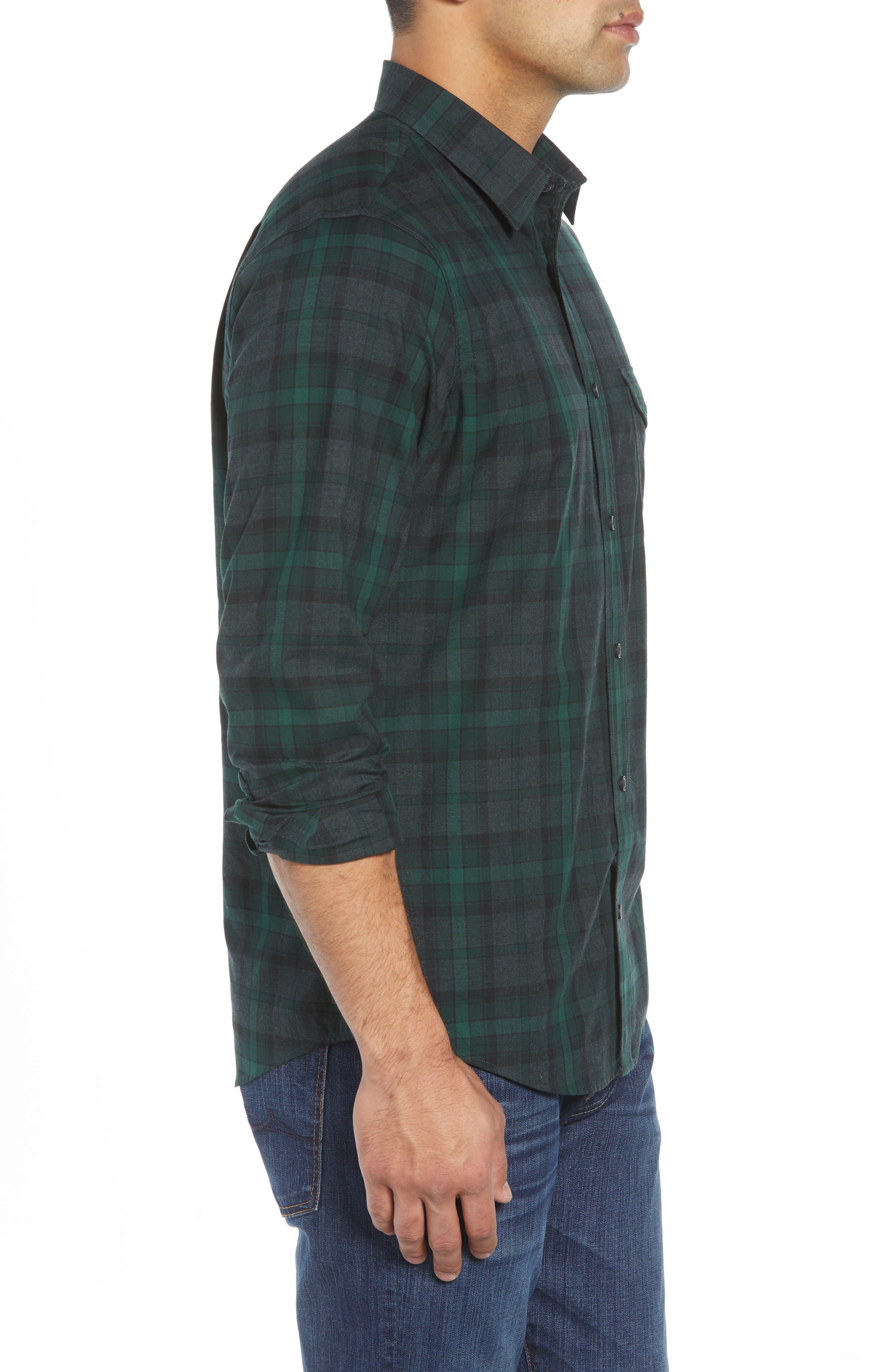 Regular Fit Plaid Flannel Sport Shirt,                             Alternate thumbnail 3, color,                             GREEN FOREST GREY PLAID