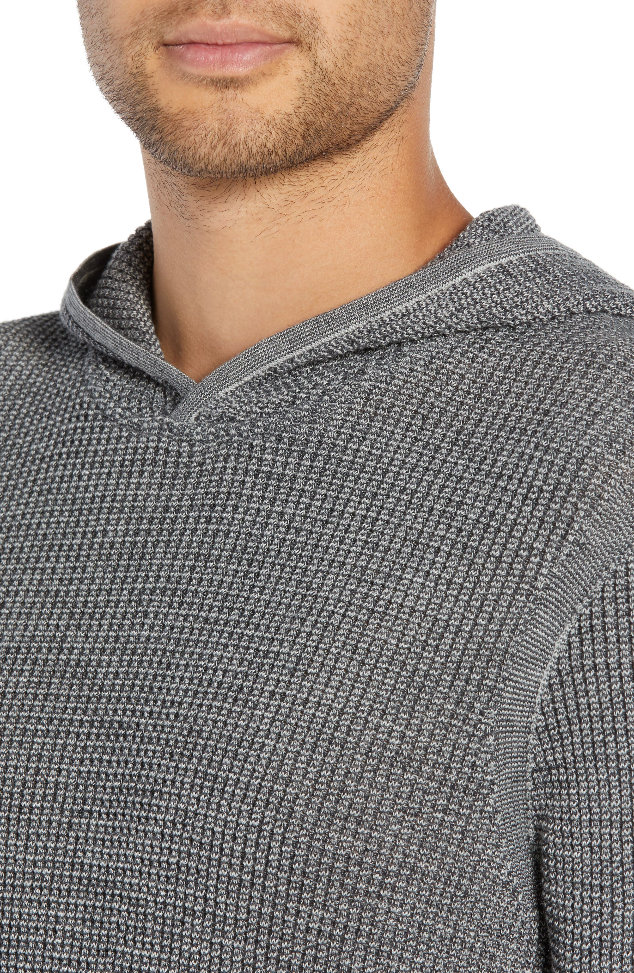 Thermal Hooded Sweater,                             Alternate thumbnail 4, color,                             CHARCOAL HEATHER