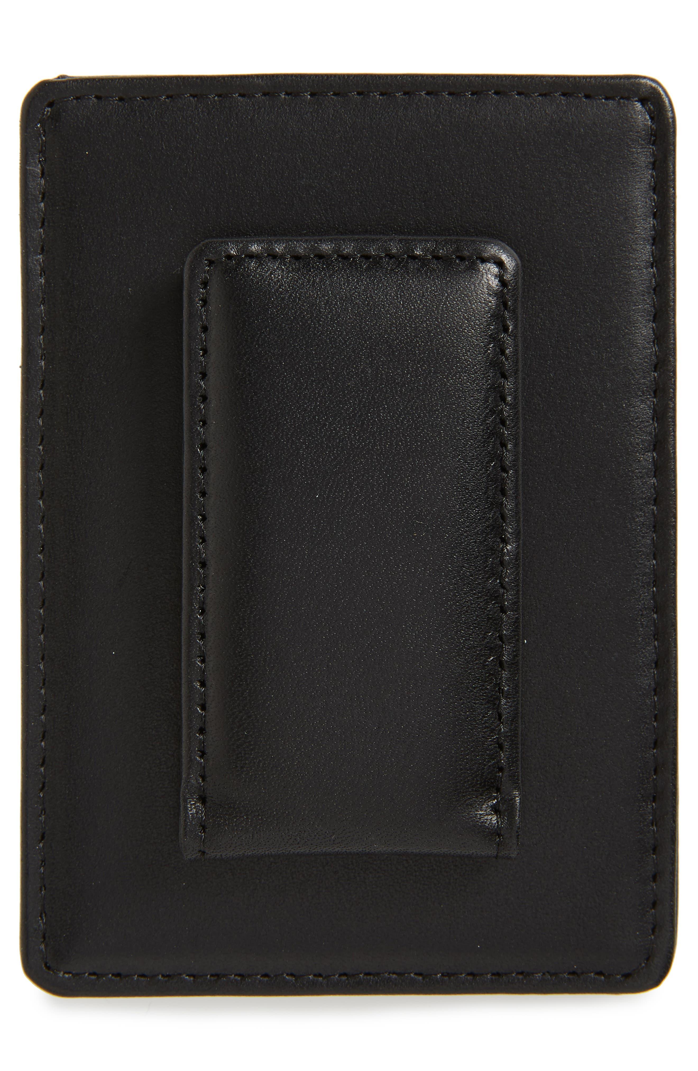 Chelsea Leather Money Clip Card Case,                             Alternate thumbnail 2, color,                             BLACK