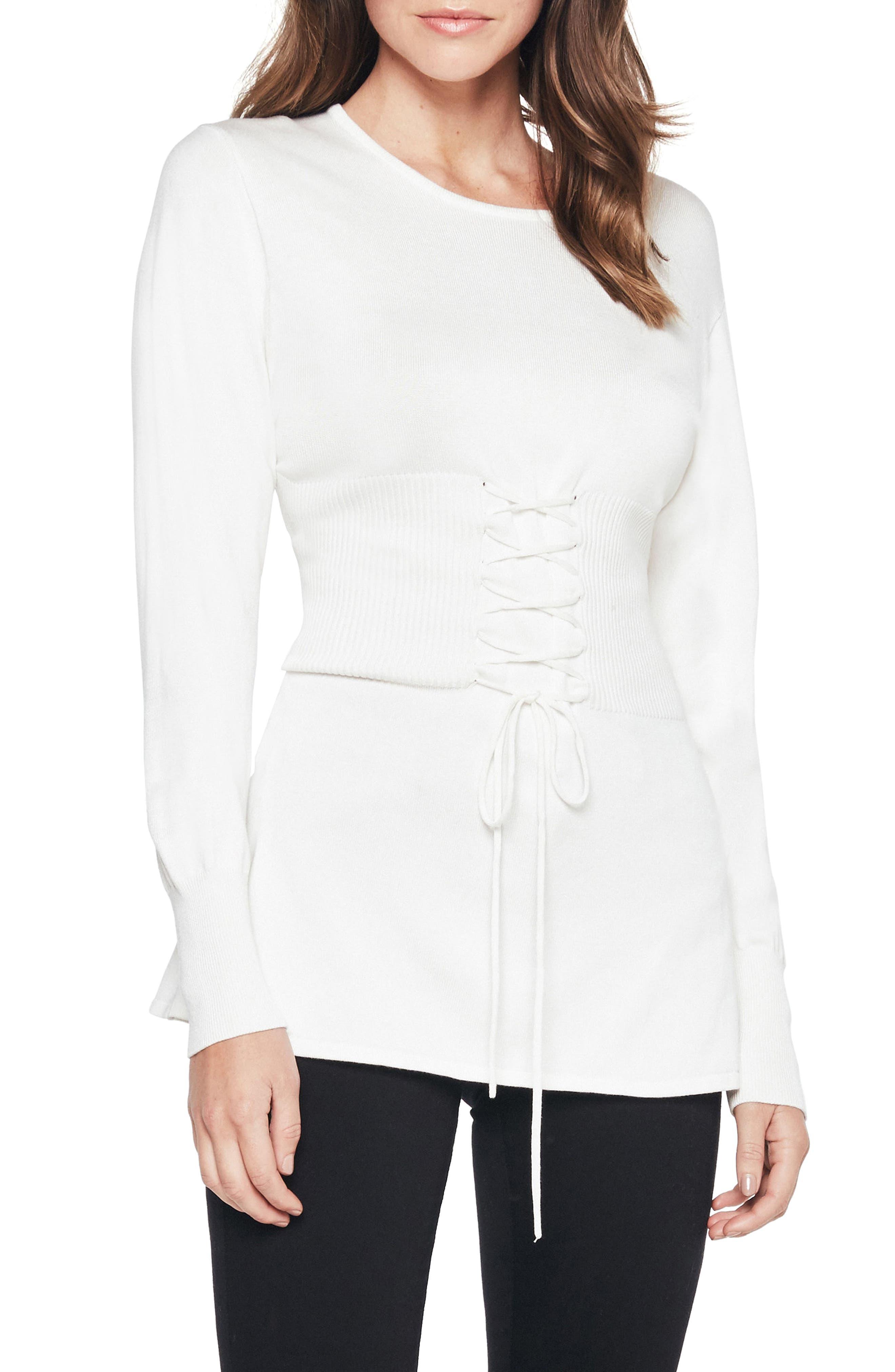 Corset Tie Knit Sweater,                         Main,                         color, 900