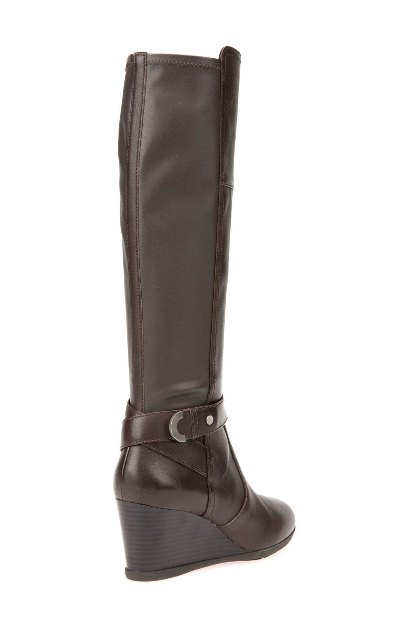 Inspiration Knee High Wedge Boot,                             Alternate thumbnail 2, color,                             COFFEE LEATHER
