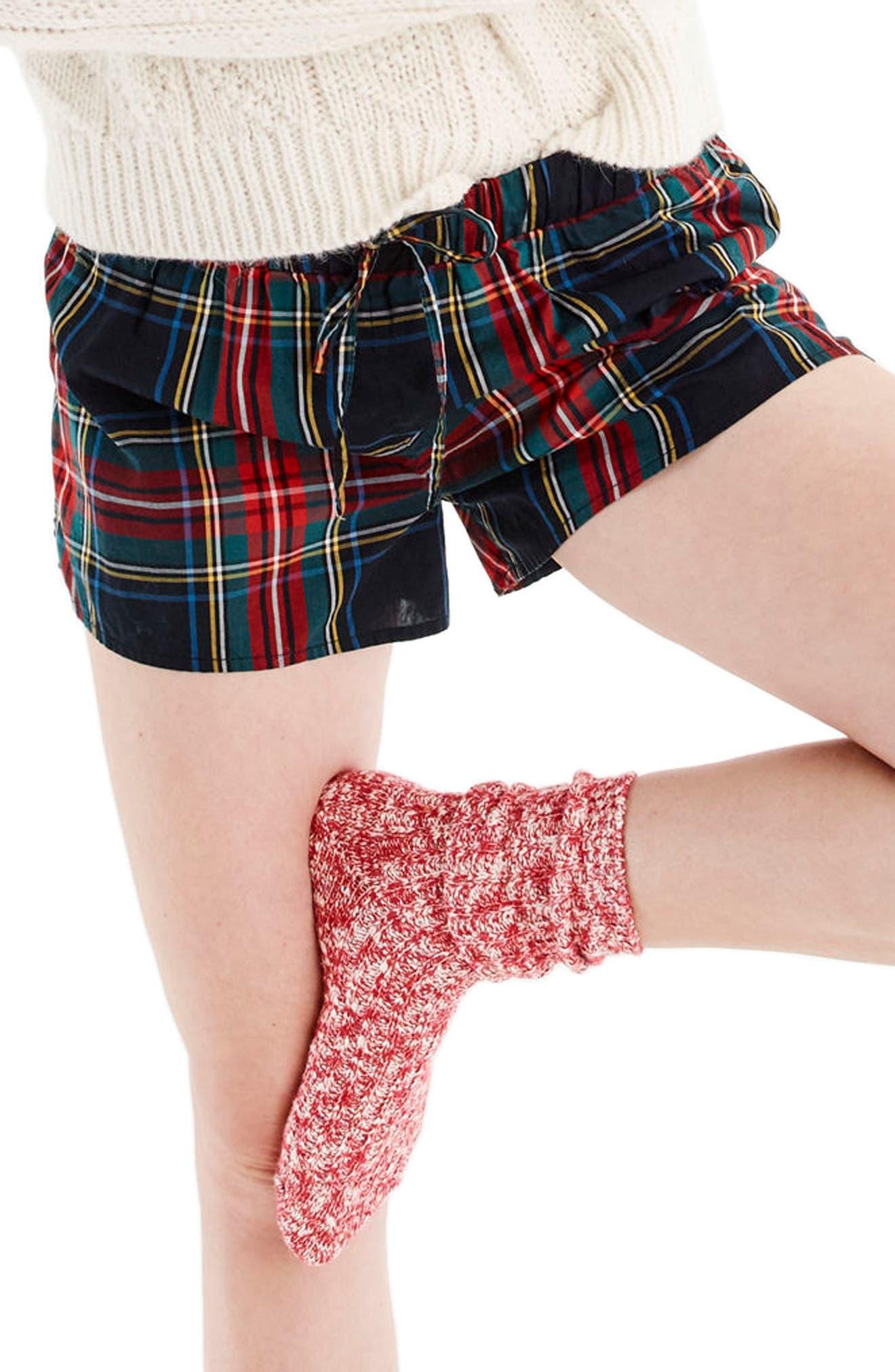 Tartan Plaid Pajama Shorts,                             Main thumbnail 1, color,                             600
