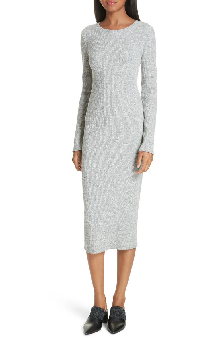 360250932b6b Vince Long-Sleeve Ribbed Knit Crewneck Midi Dress In Heather Grey ...