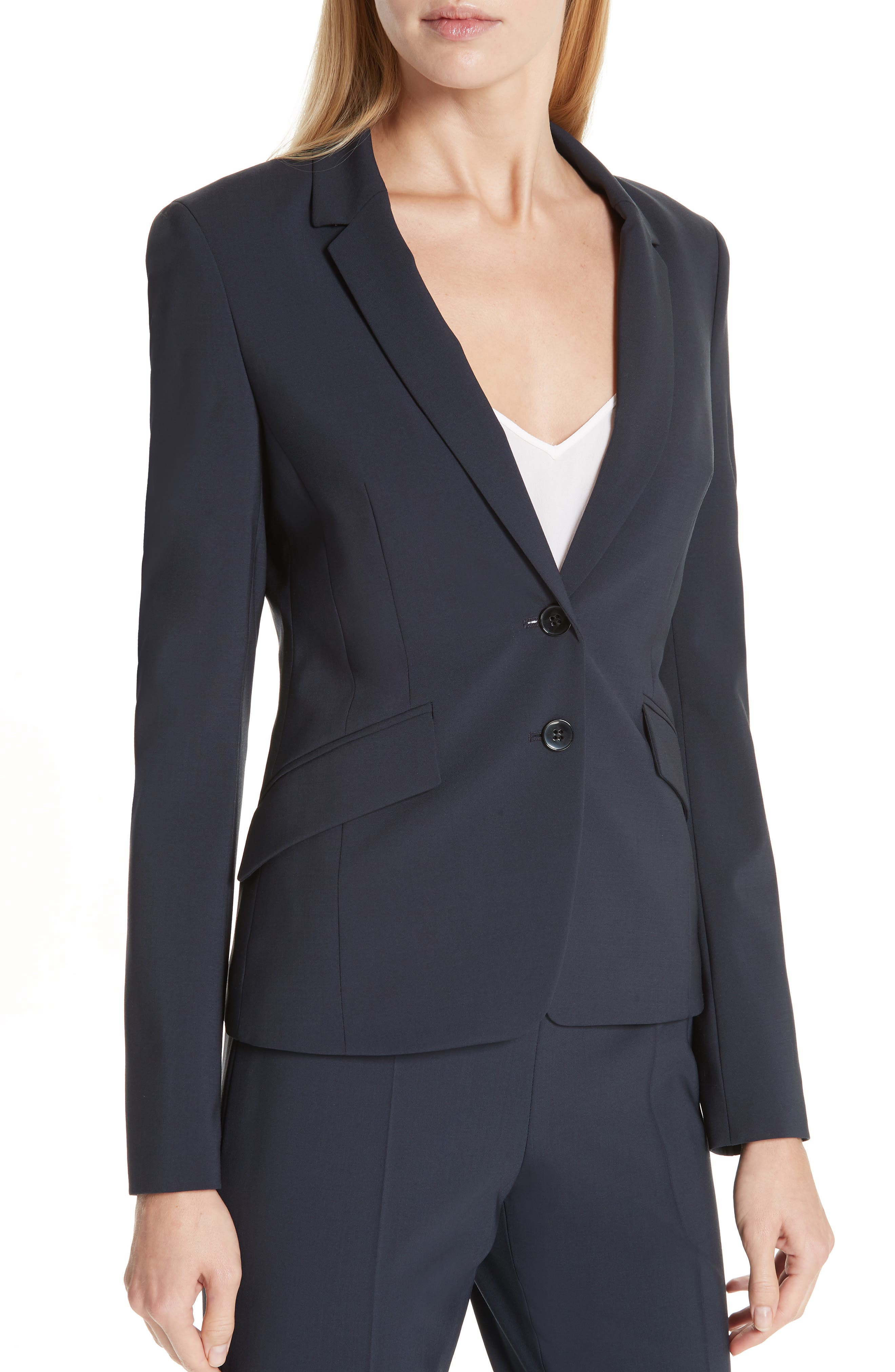 BOSS,                             Jiletara Stretch Wool Jacket,                             Alternate thumbnail 4, color,                             NAVY