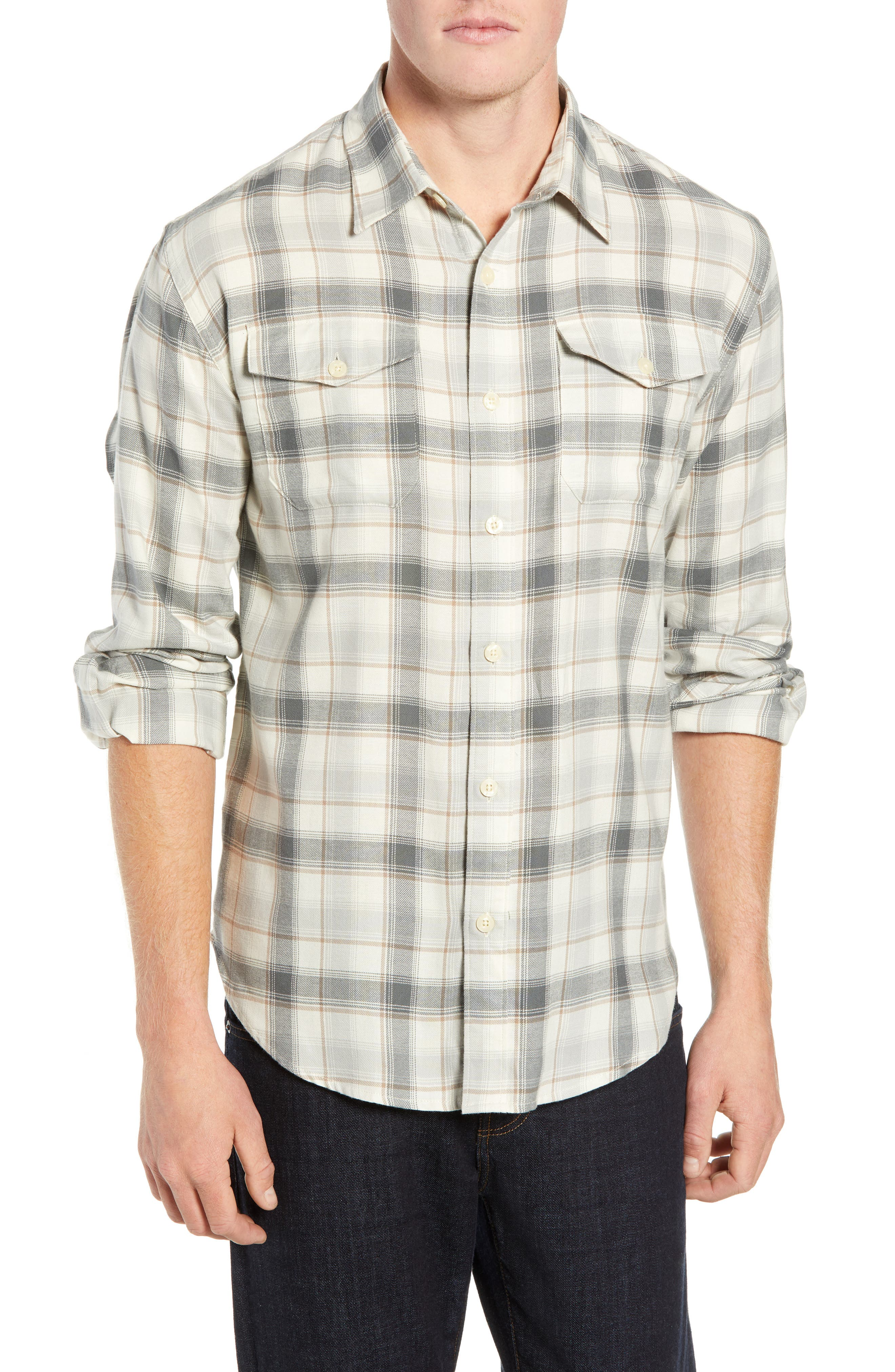 Coastaoro Honeydew Plaid Garment Washed Flannel Shirt, Grey