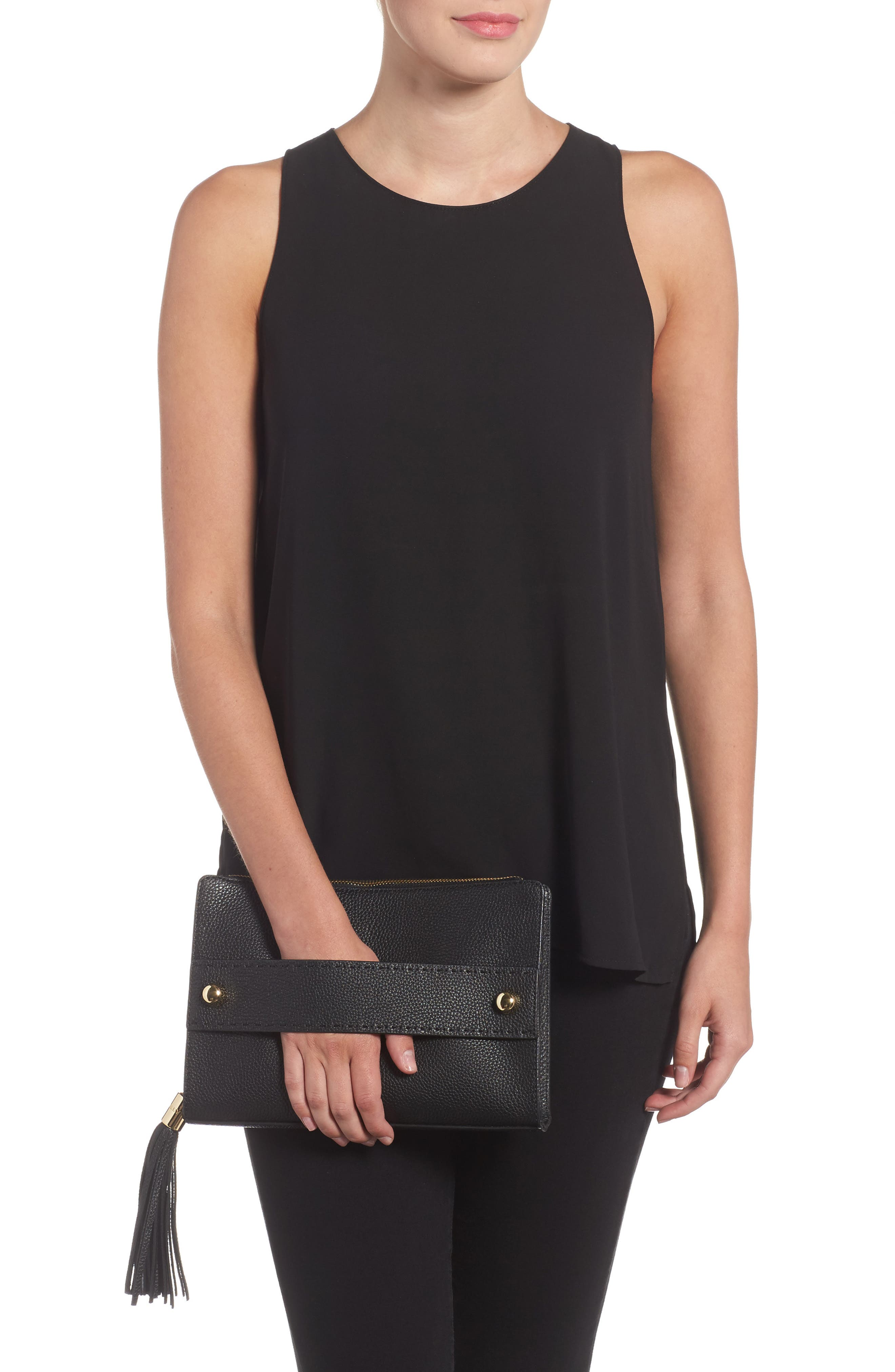 Astor Leather Clutch,                             Alternate thumbnail 2, color,                             001