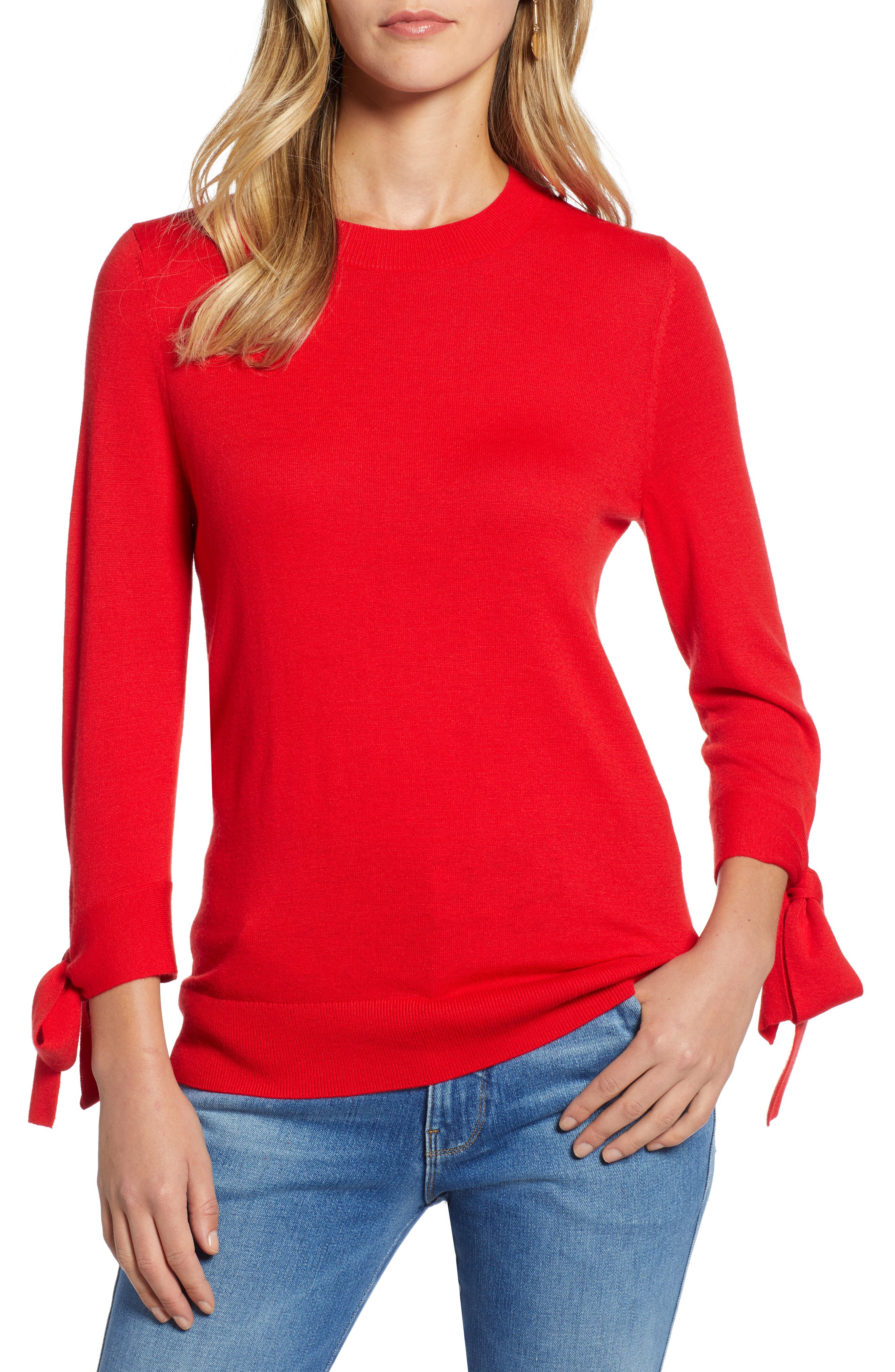 Tie Sleeve Crewneck Sweater,                             Main thumbnail 1, color,                             RED CHINOISE