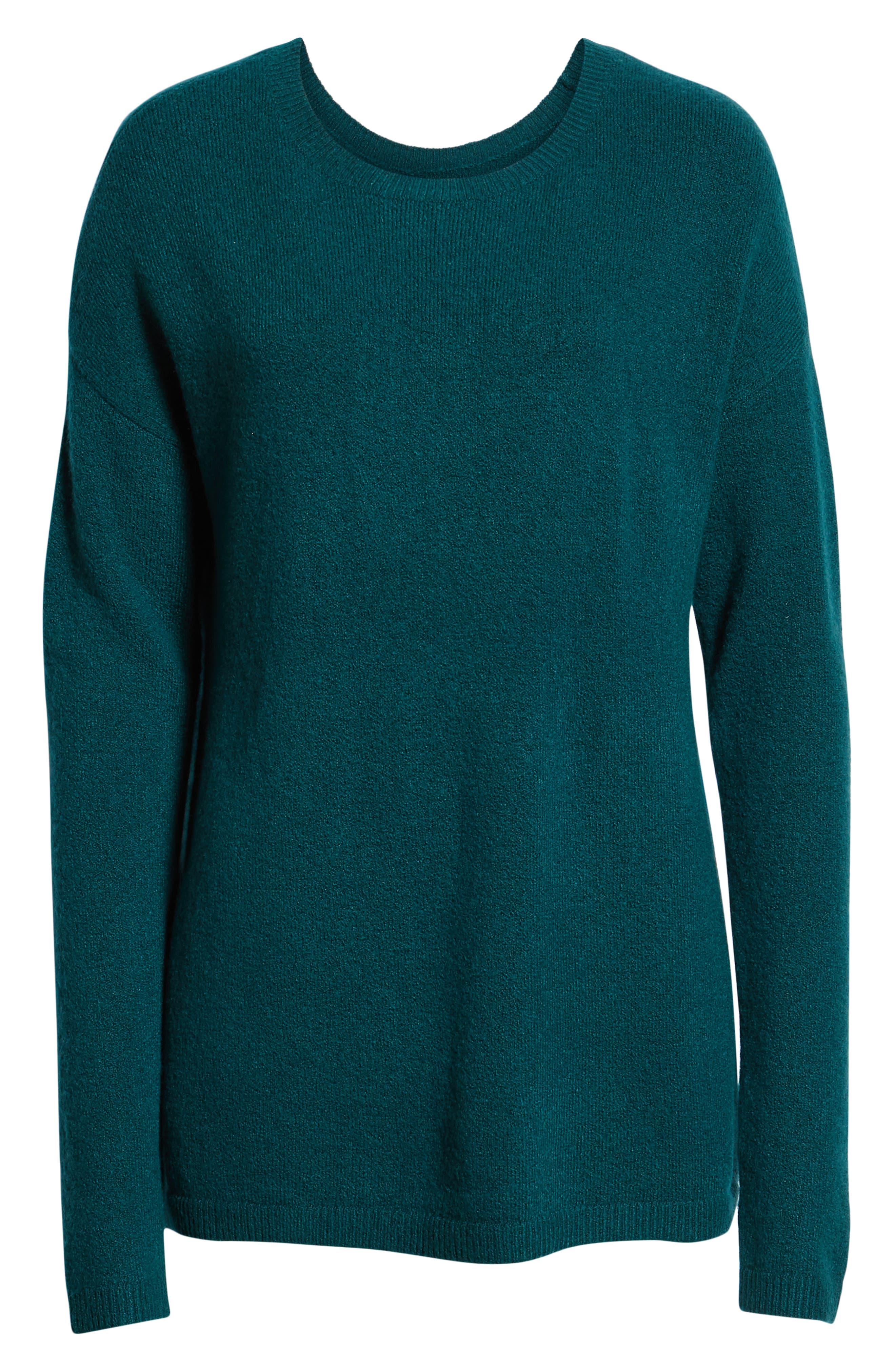 Bow Back Sweater,                             Alternate thumbnail 6, color,                             GREEN BOTANICAL