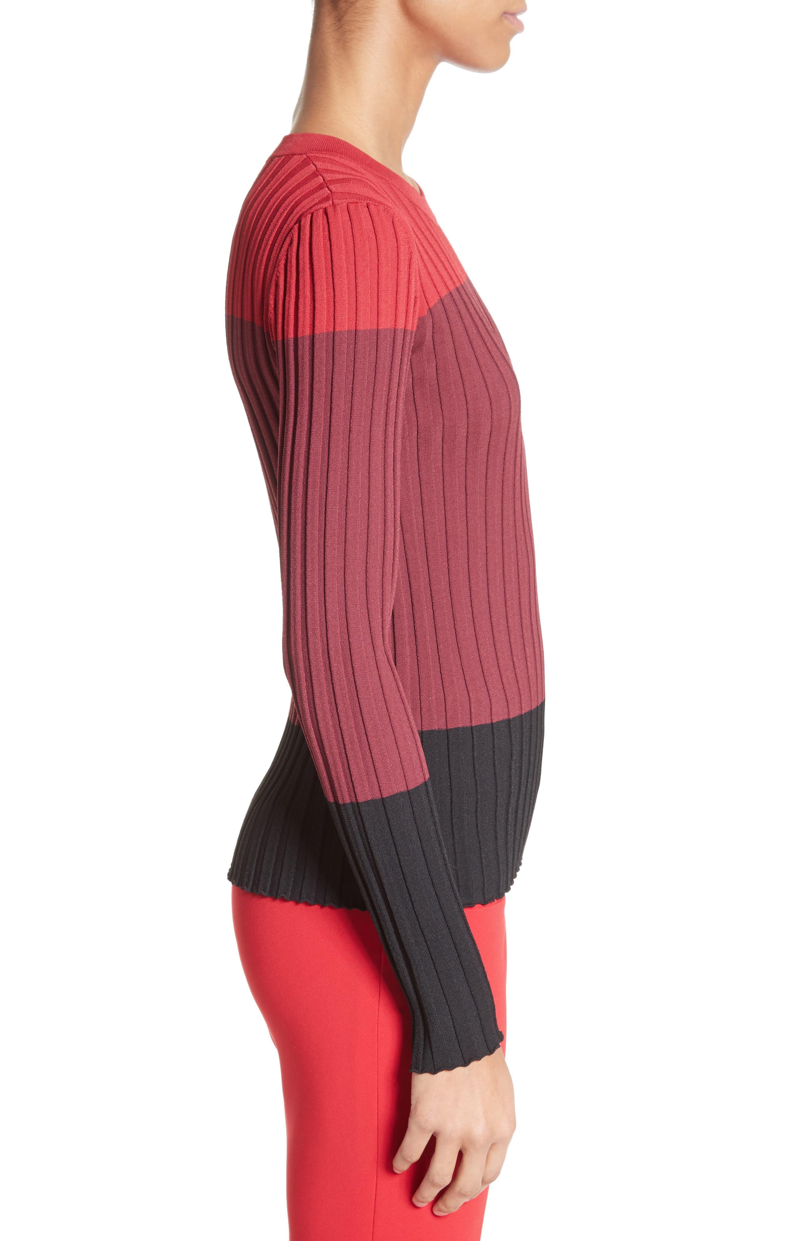 Leila Colorblock Knit Sweater,                             Alternate thumbnail 3, color,                             504