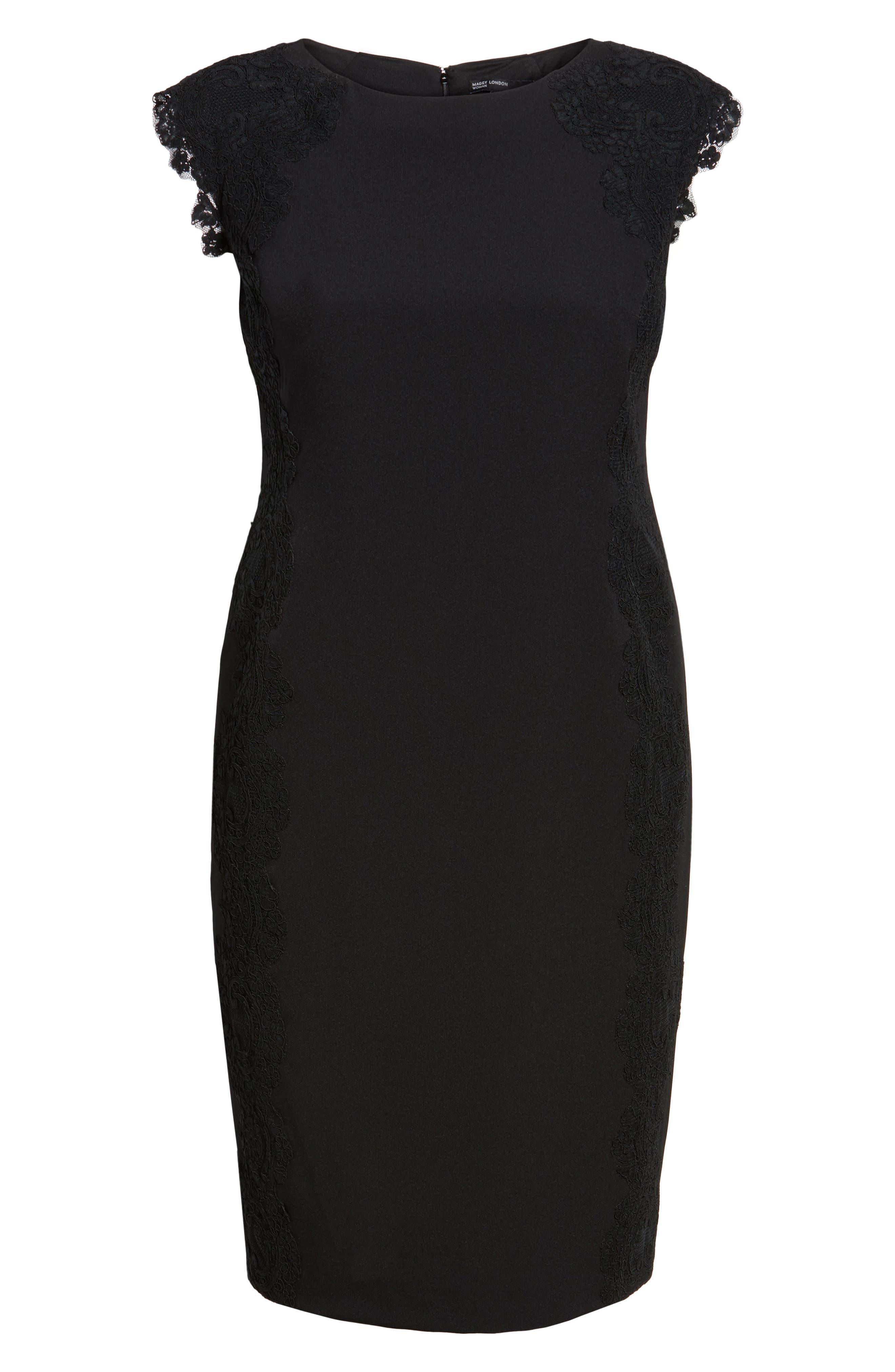 Lace Side Sheath Dress,                             Alternate thumbnail 6, color,                             001