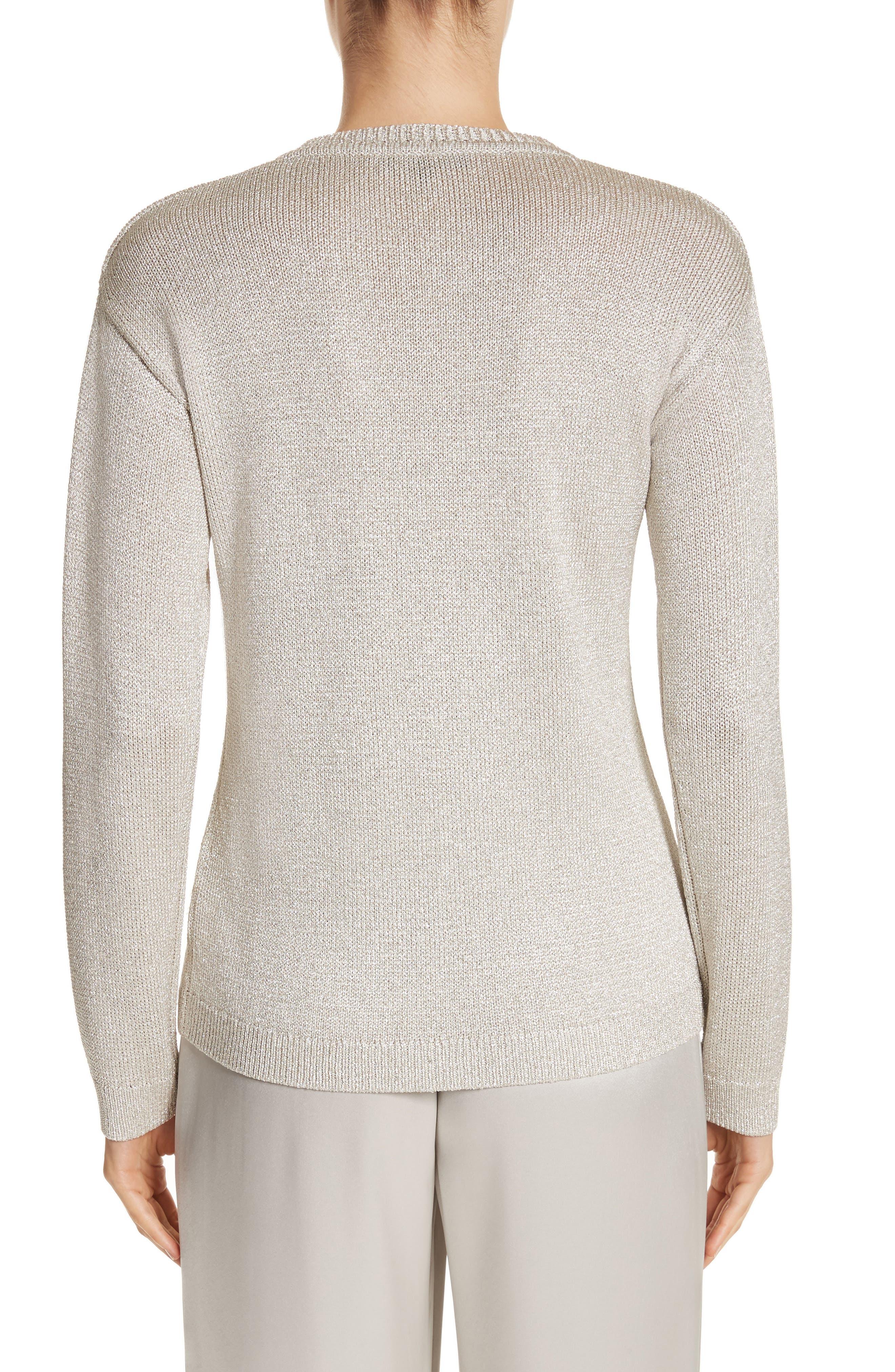 St John Collection Metallic Jersey Knit Sweater,                             Alternate thumbnail 2, color,                             020