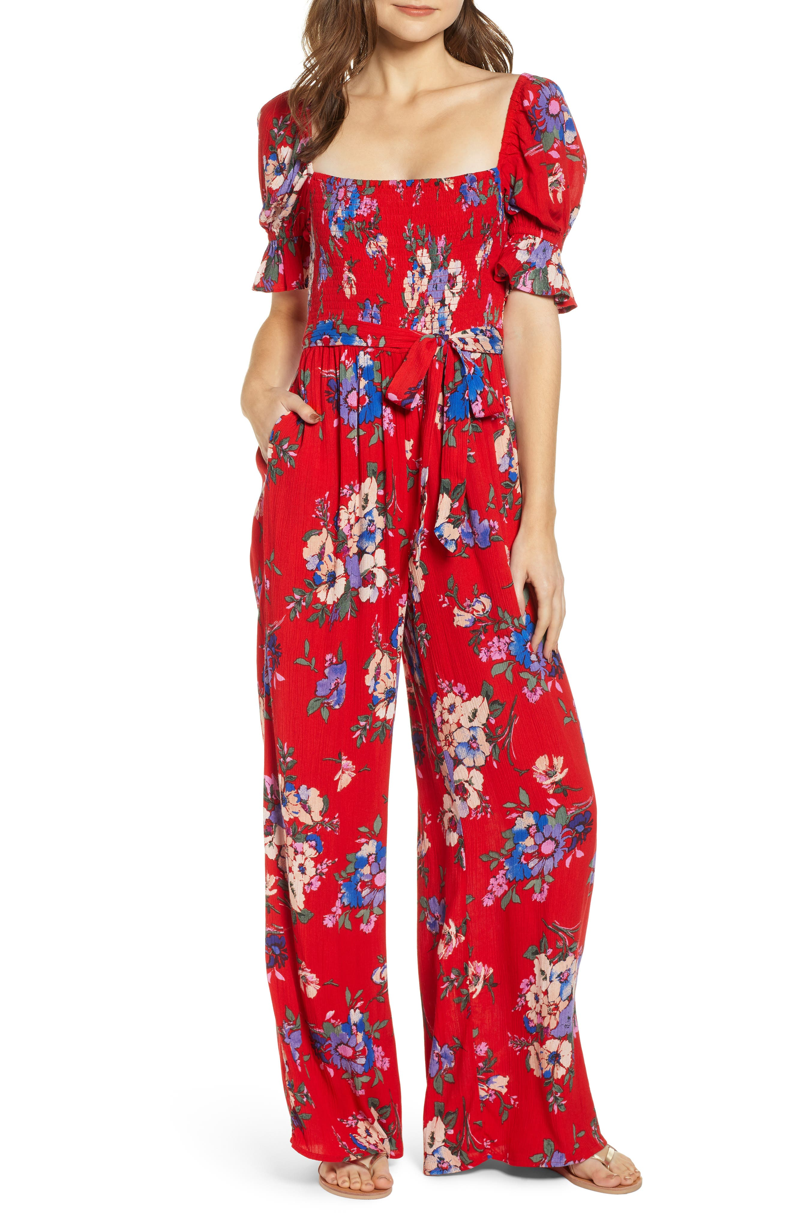 BAND OF GYPSIES Manchester Smocked Jumpsuit, Main, color, RED/ ROYAL