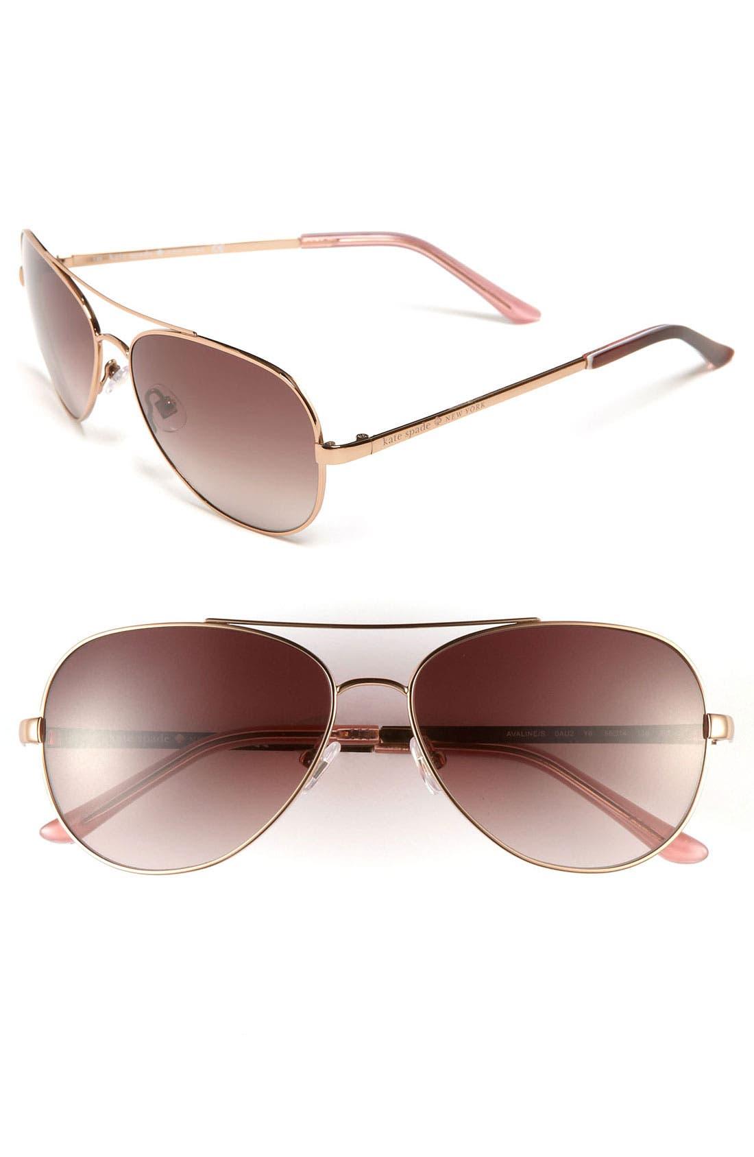 'avaline' 58mm aviator sunglasses,                         Main,                         color, 710