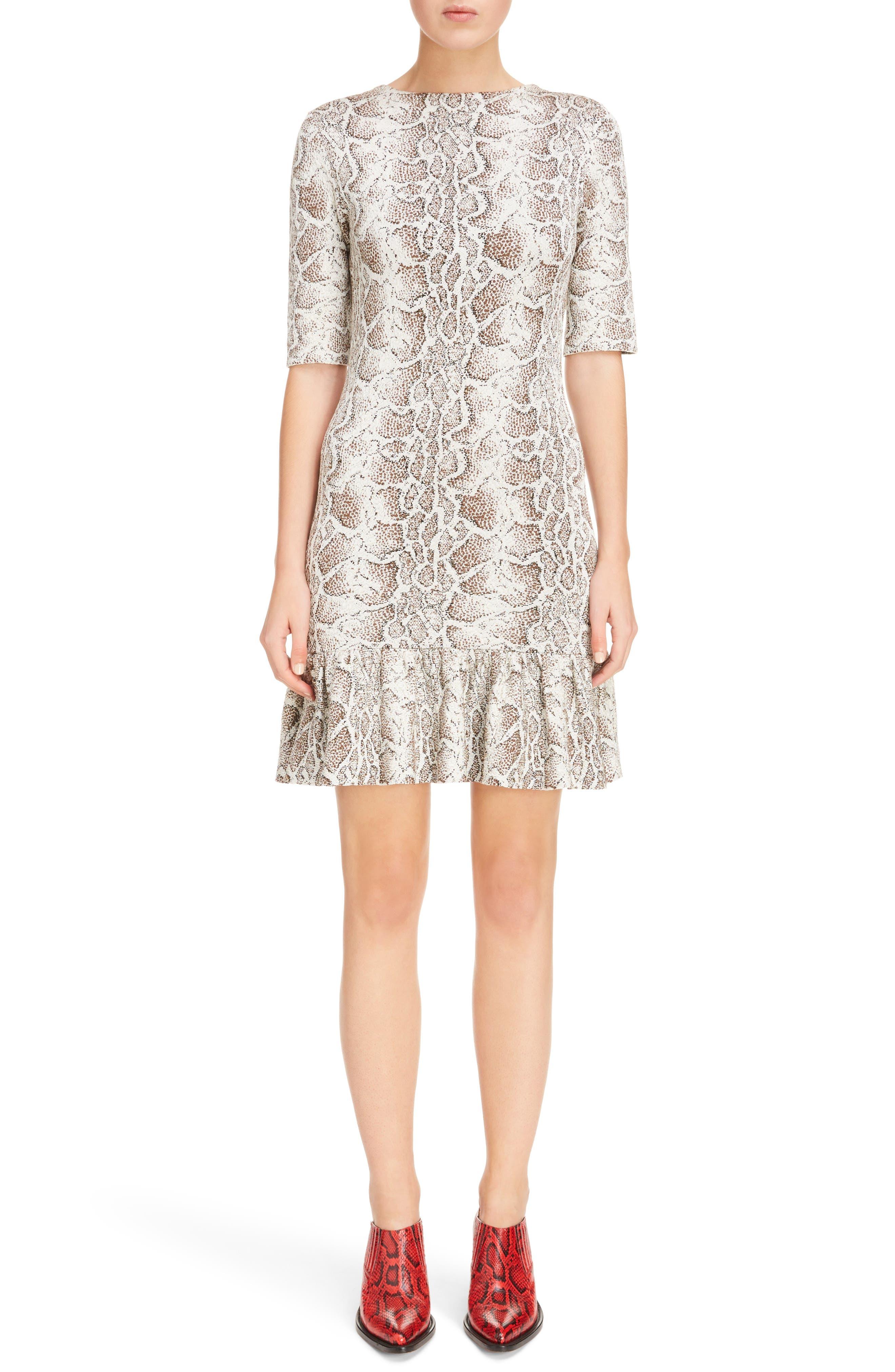 Python Jacquard Ruffle Hem Dress,                             Main thumbnail 1, color,                             240