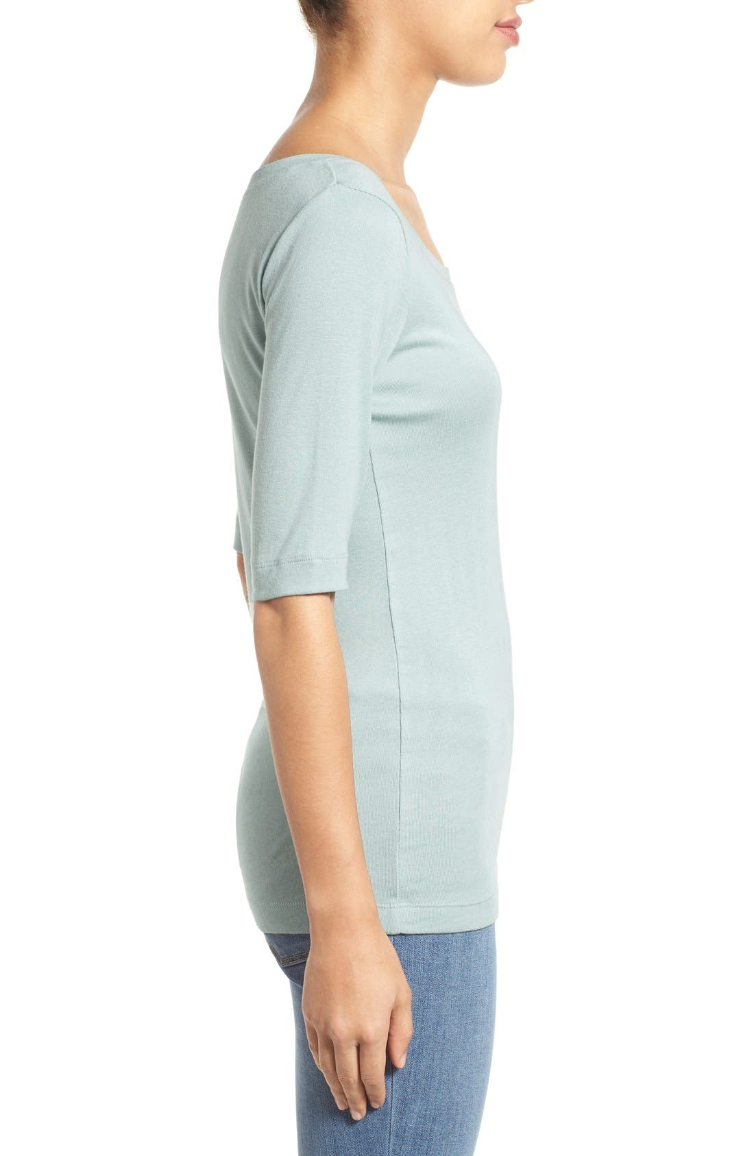 Ballet Neck Cotton & Modal Knit Elbow Sleeve Tee,                             Alternate thumbnail 88, color,