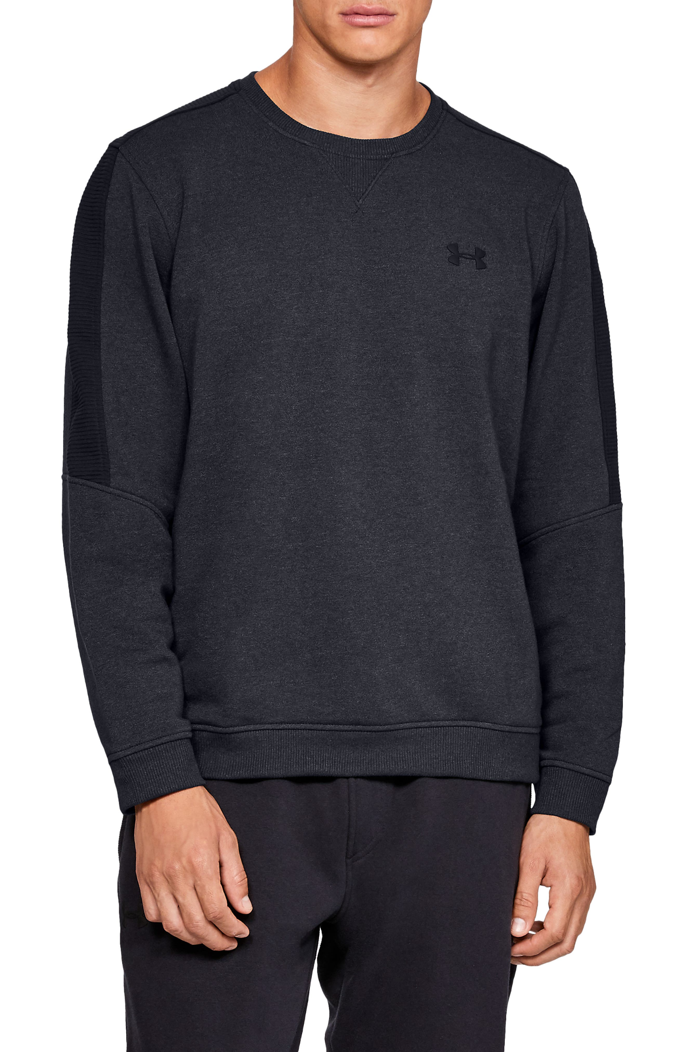Threadborne Siro Fleece Crewneck Sweatshirt,                         Main,                         color, BLACK/ BLACK/ BLACK